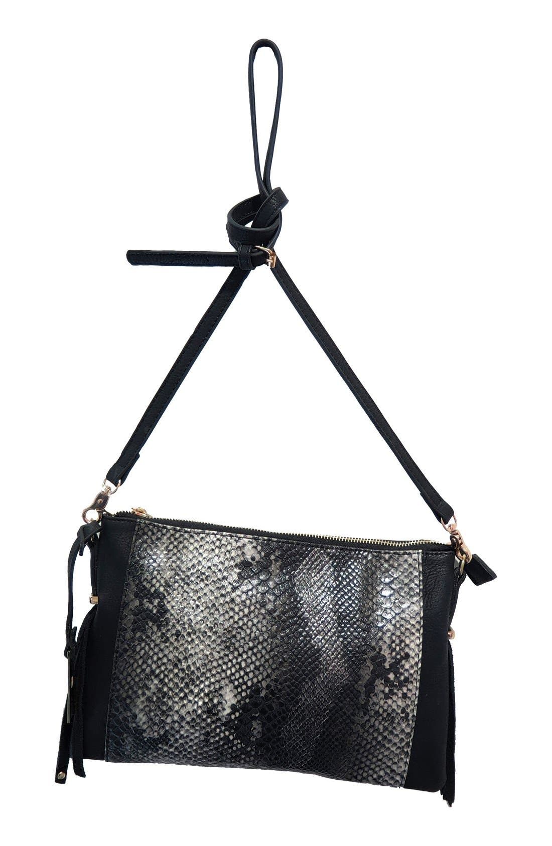 'Infinity' Snake Embossed Convertible Vegan Leather Crossbody Bag,                             Main thumbnail 1, color,                             100