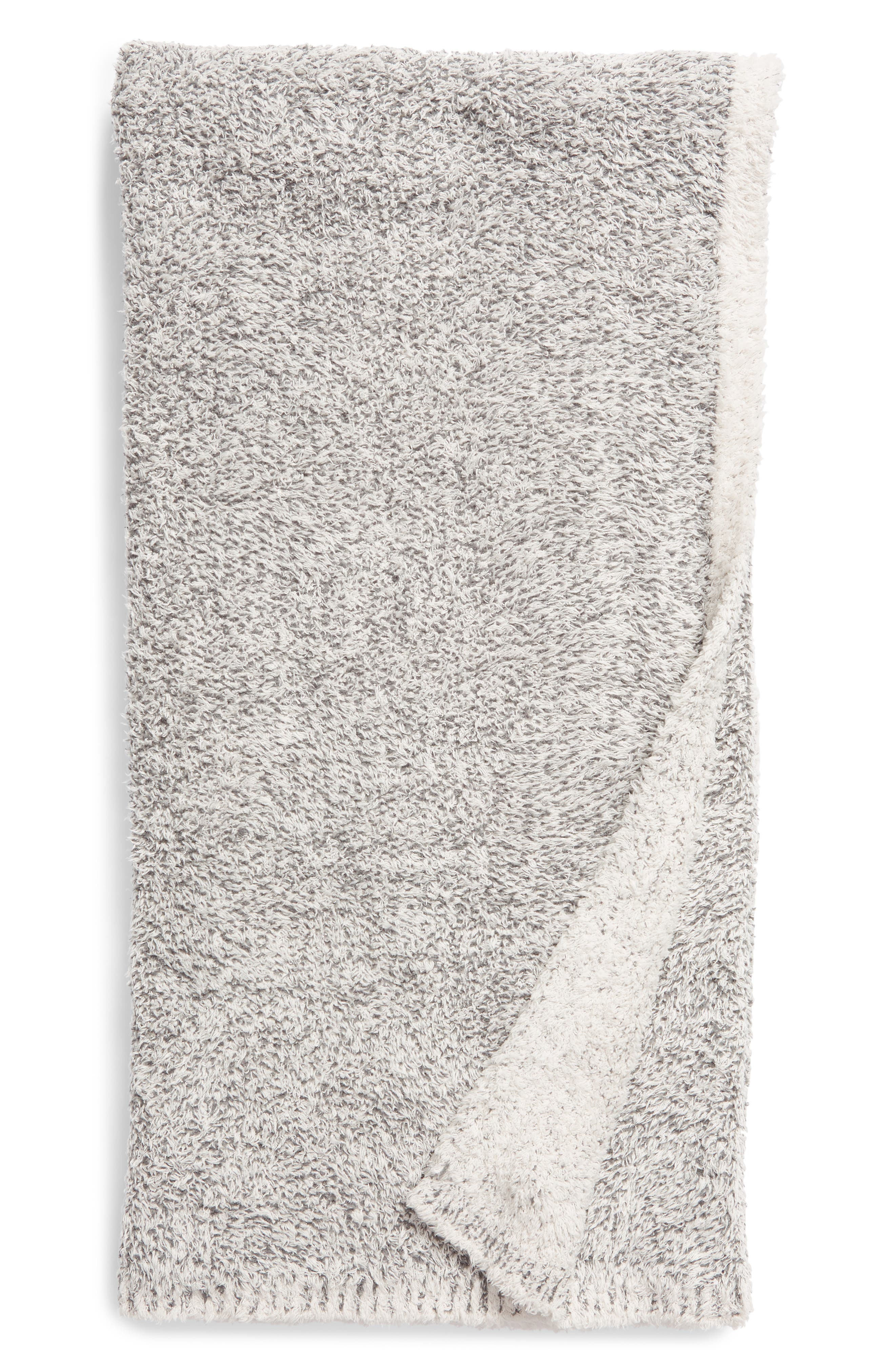 BAREFOOT DREAMS<SUP>®</SUP>,                             CozyChic<sup>™</sup> Reversible Tweed Throw,                             Main thumbnail 1, color,                             ALMOND/ GRAPHITE