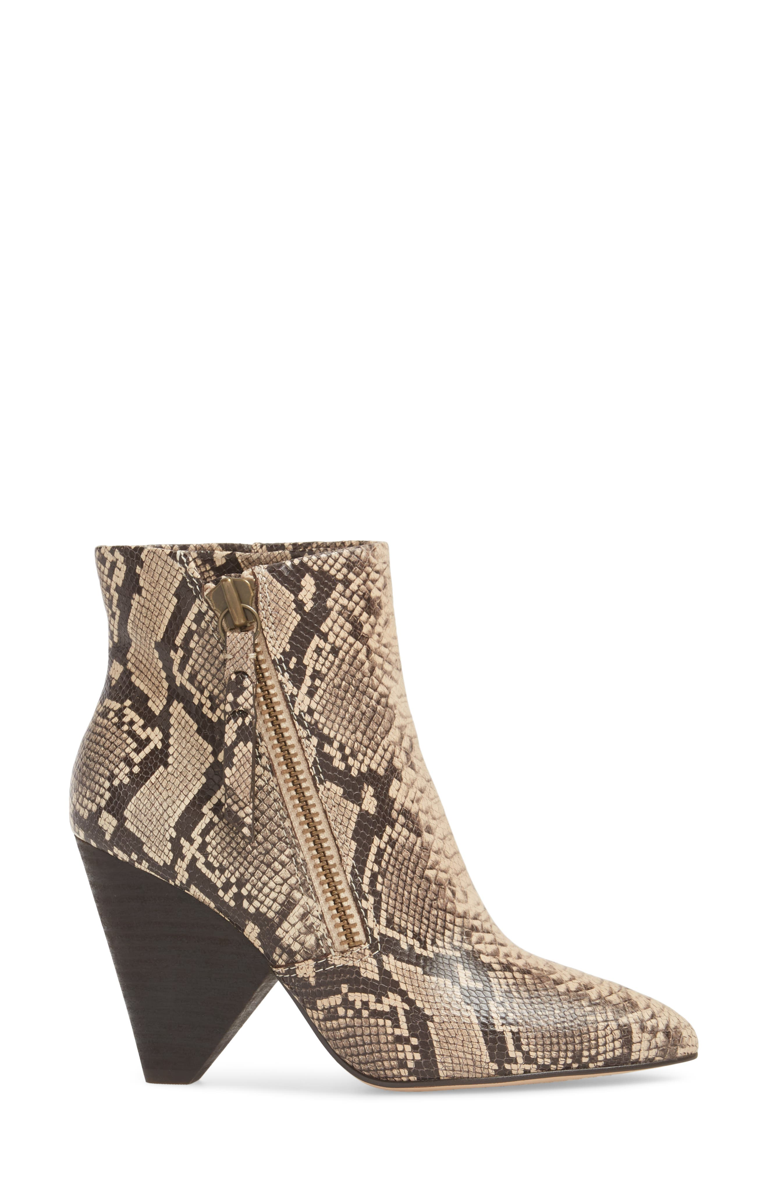 Neva II Bootie,                             Alternate thumbnail 3, color,                             NATURAL EMBOSSED SNAKE LEATHER