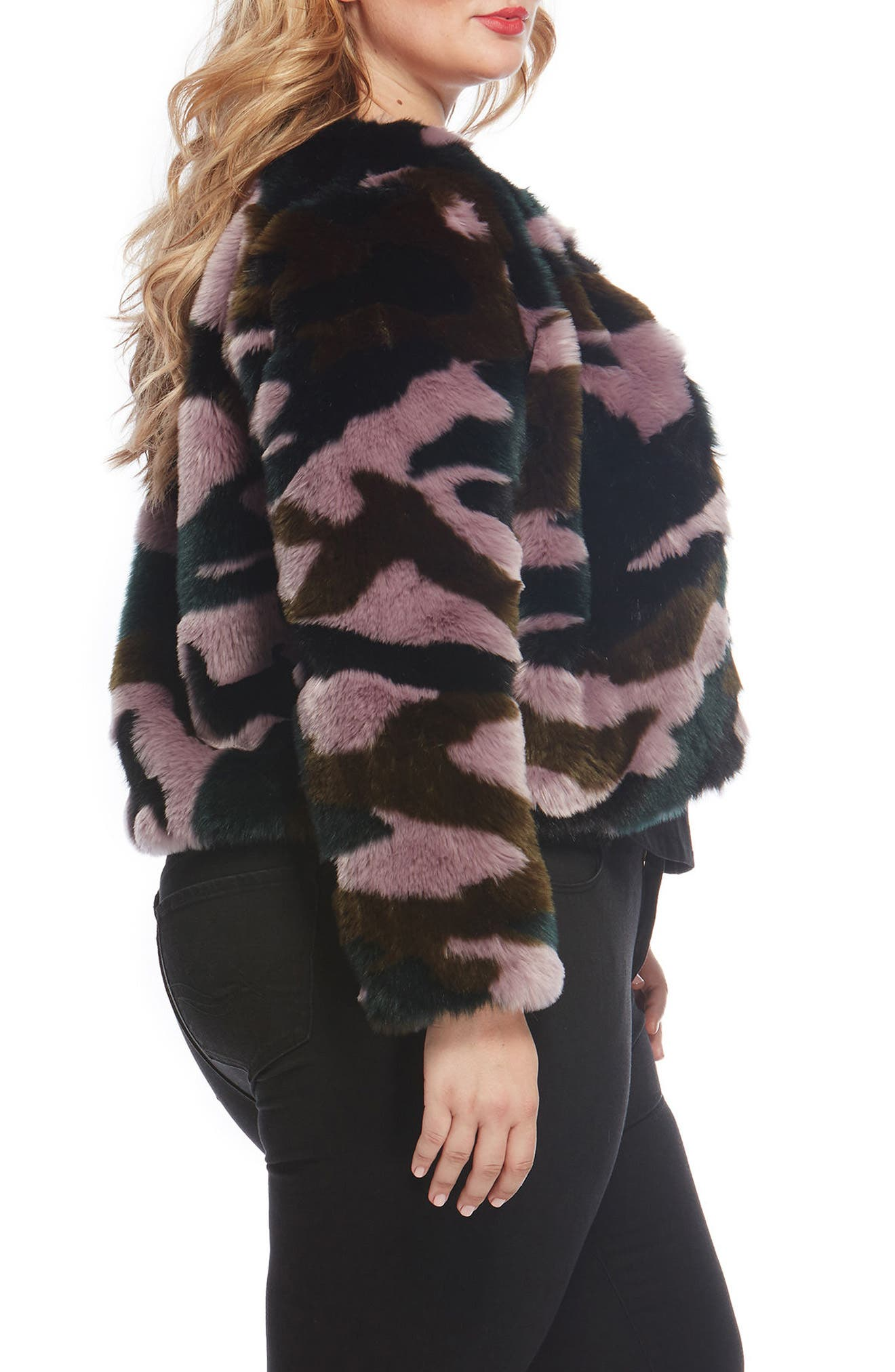 Faux Fur Jacket,                             Alternate thumbnail 3, color,                             591