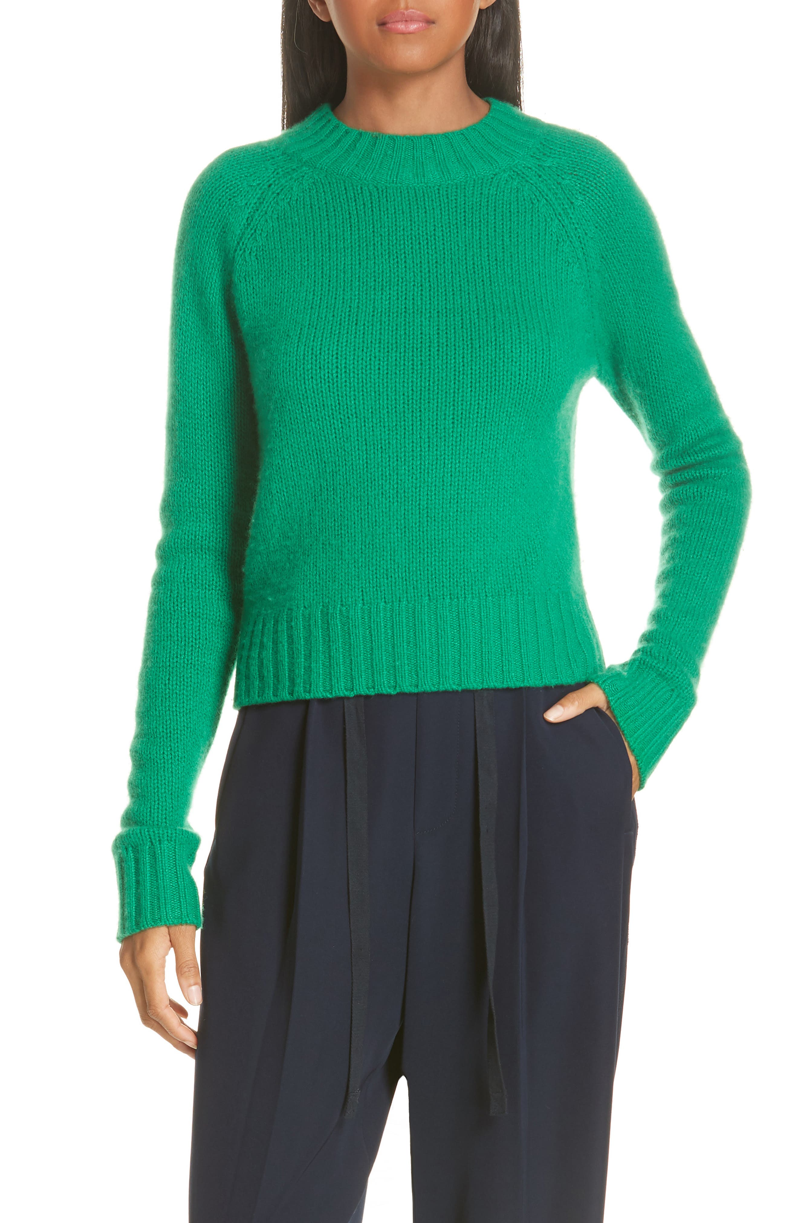 Shrunken Cashmere Sweater,                             Main thumbnail 1, color,                             LEAF