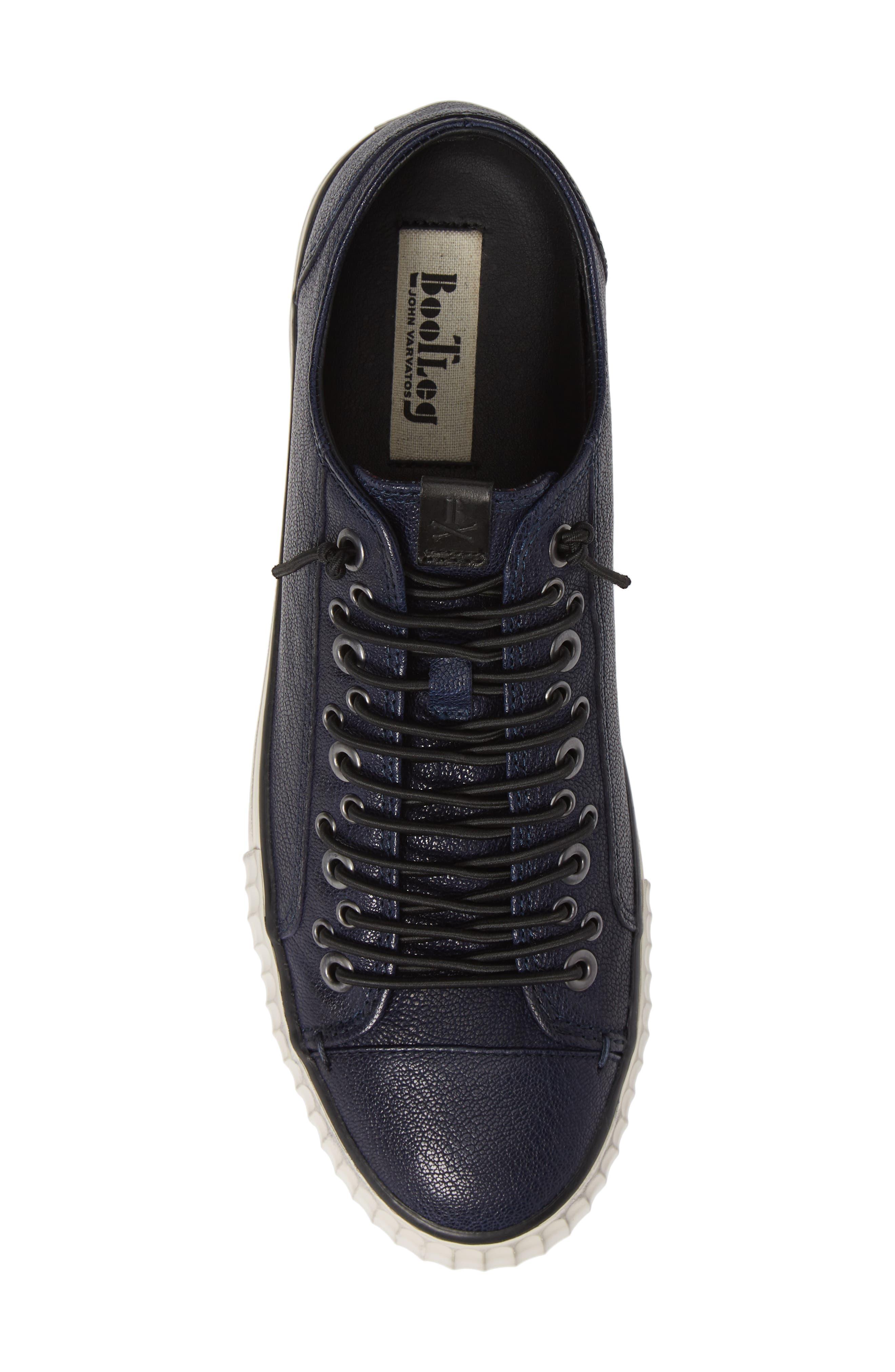 John Varvatos Star USA Bootleg Low Top Sneaker,                             Alternate thumbnail 5, color,                             BLUE LEATHER
