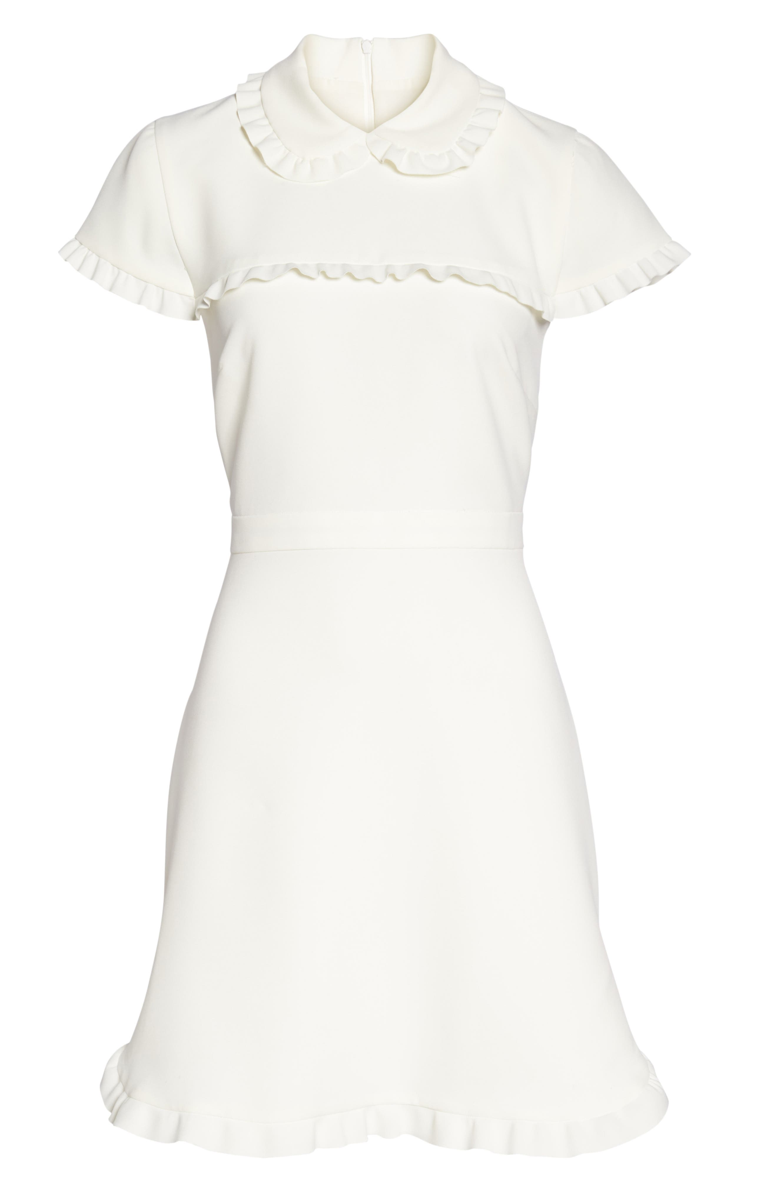 Emma Ruffle Crepe Dress,                             Alternate thumbnail 7, color,                             WHITE