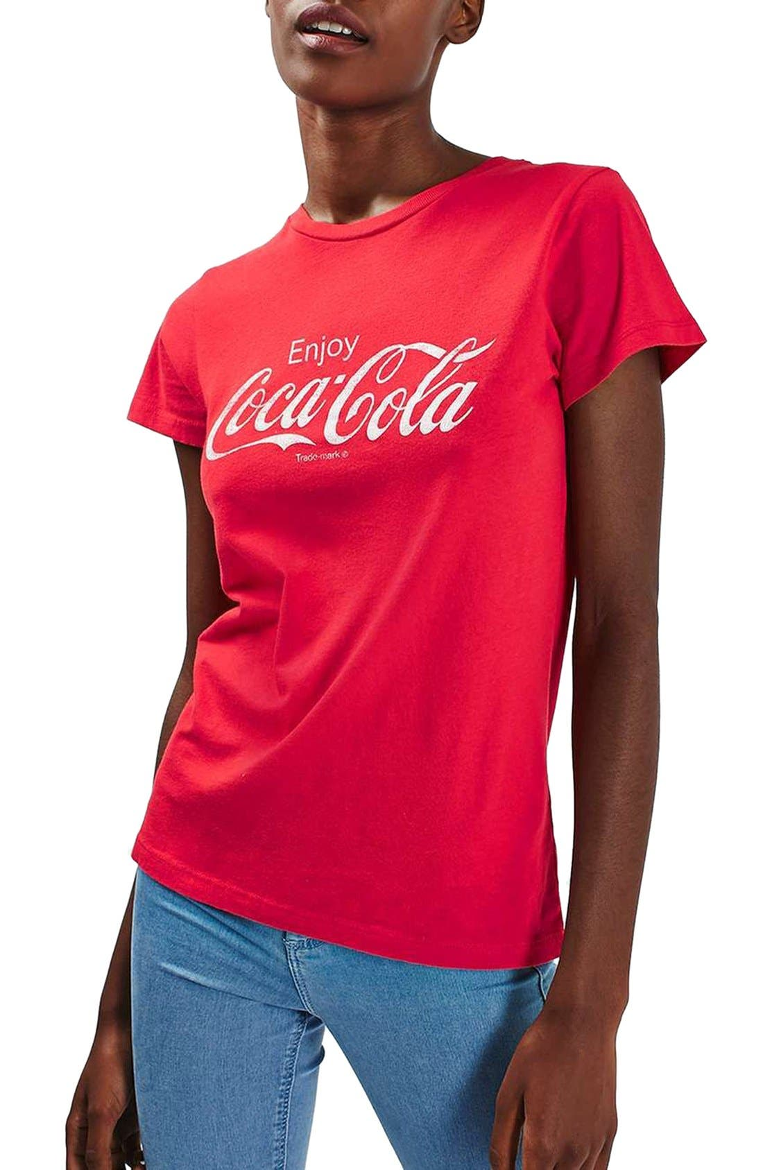 'Coca Cola' Graphic Tee,                             Main thumbnail 1, color,                             600