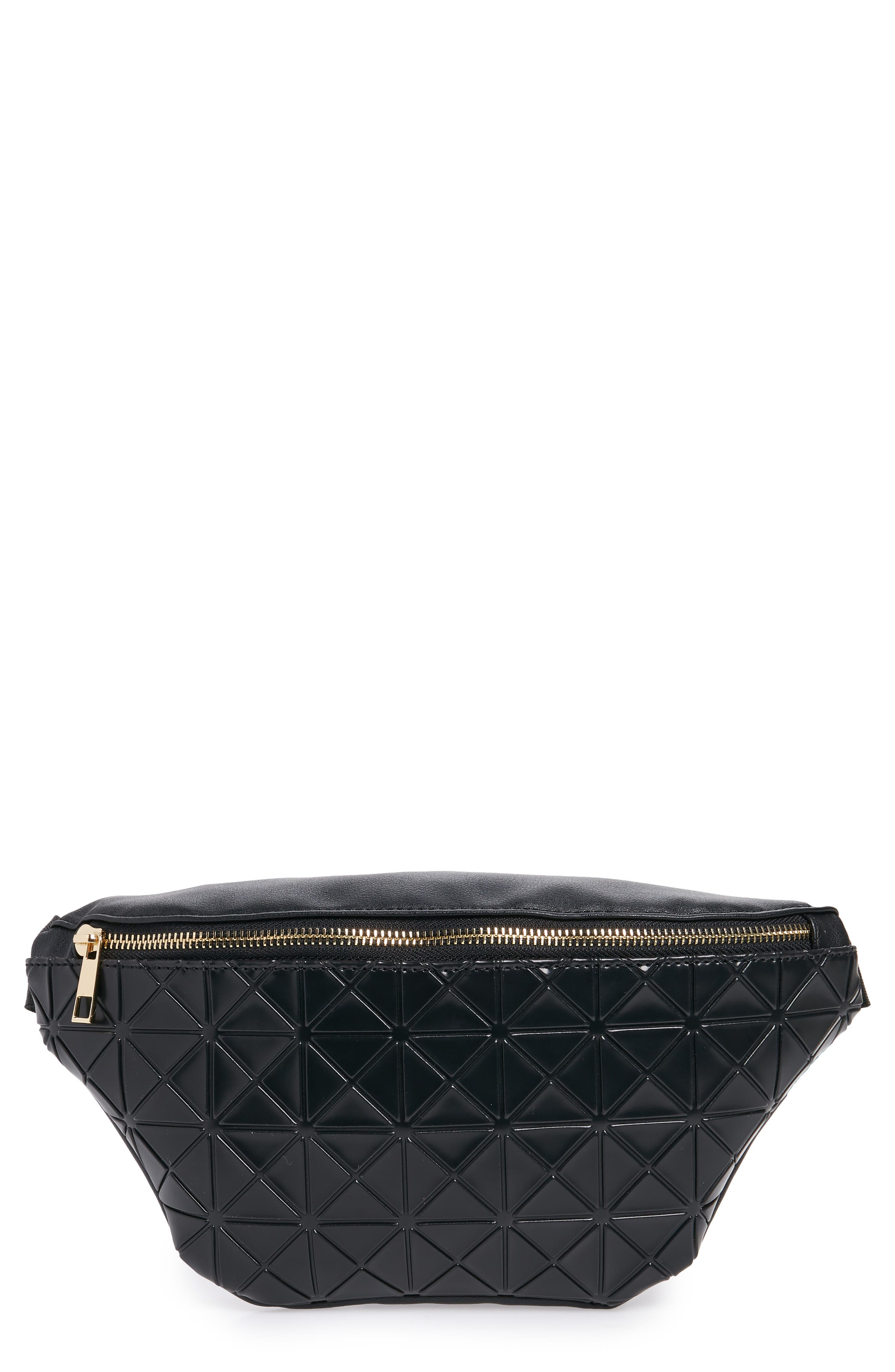 Geometric Detail Faux Leather Belt Bag,                         Main,                         color, BLACK