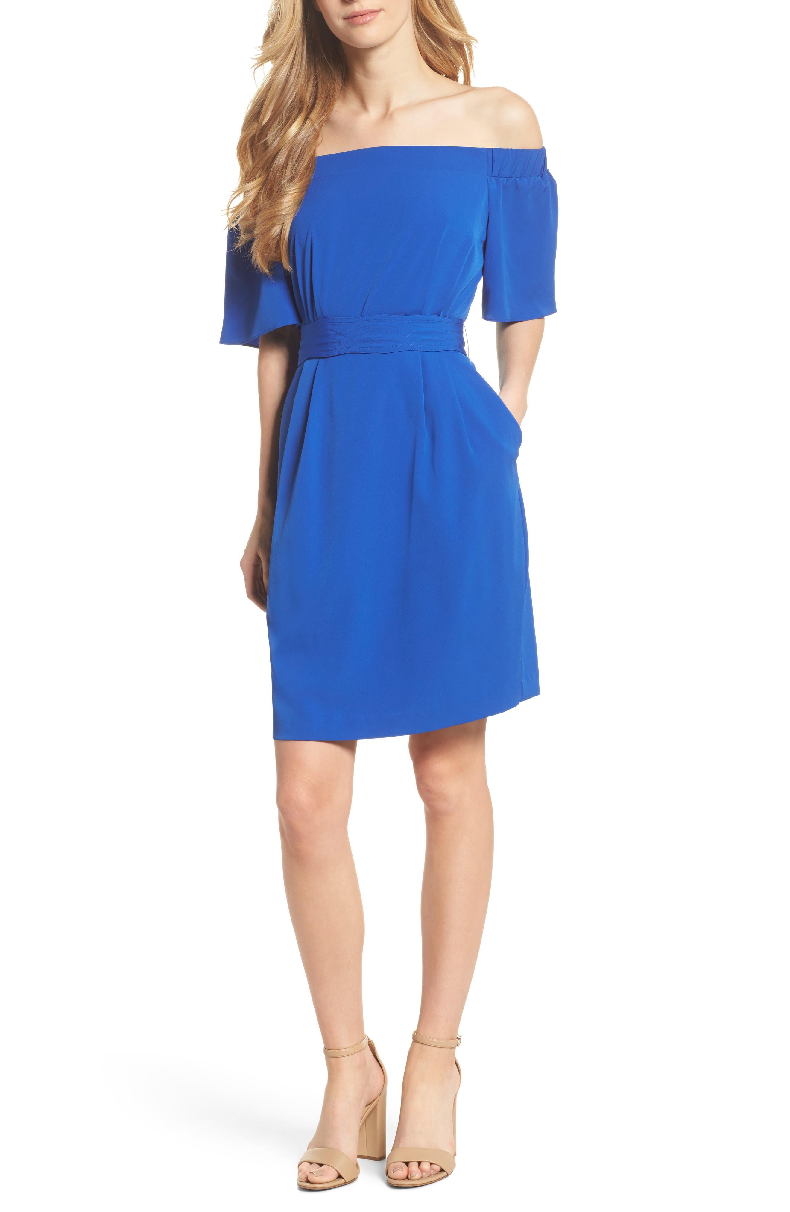 Off the Shoulder Obi Dress,                         Main,                         color, COBALT