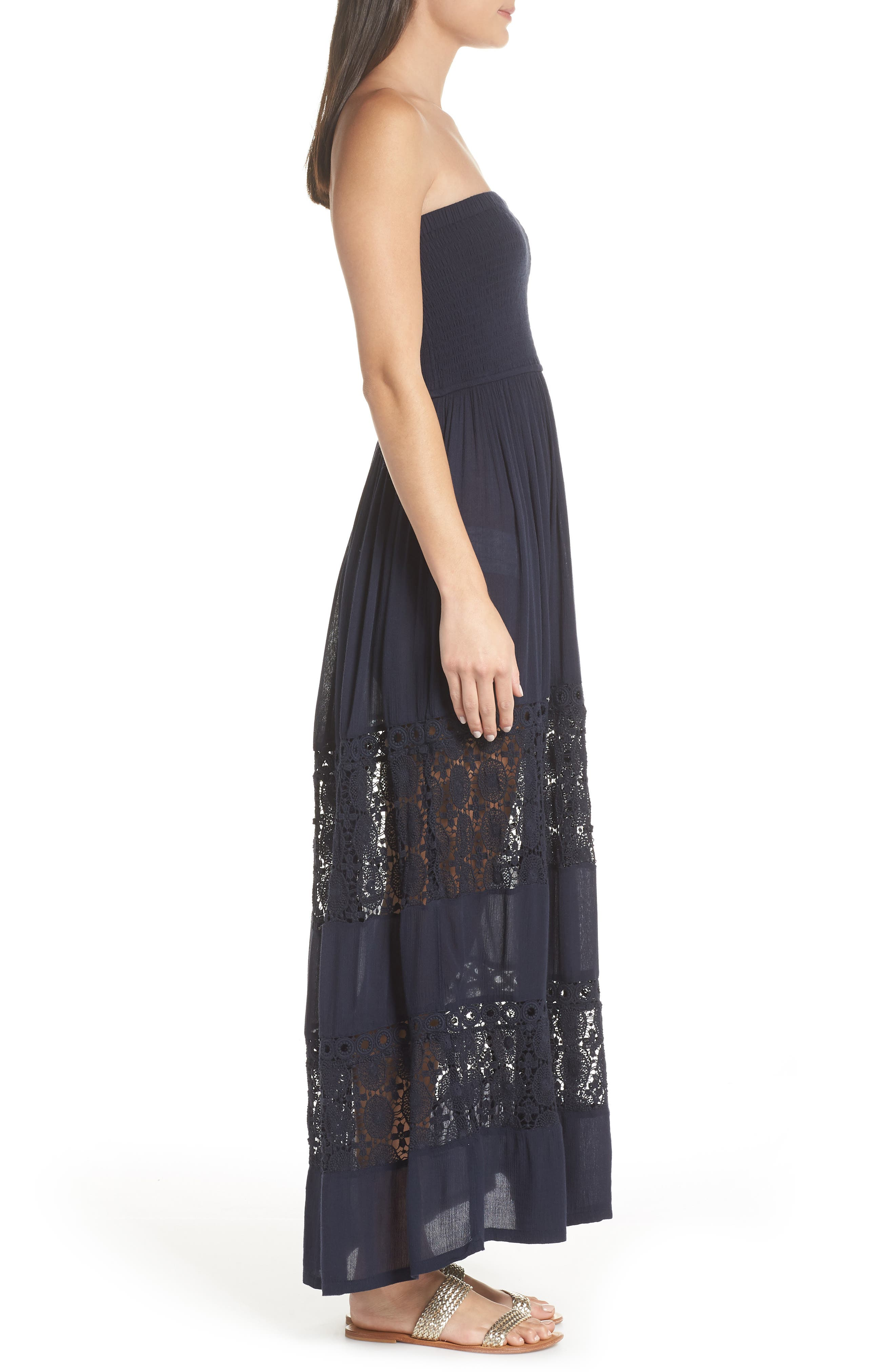 Farrah Smocked Cover-Up Maxi Dress,                             Alternate thumbnail 4, color,                             NAVY SAPPHIRE