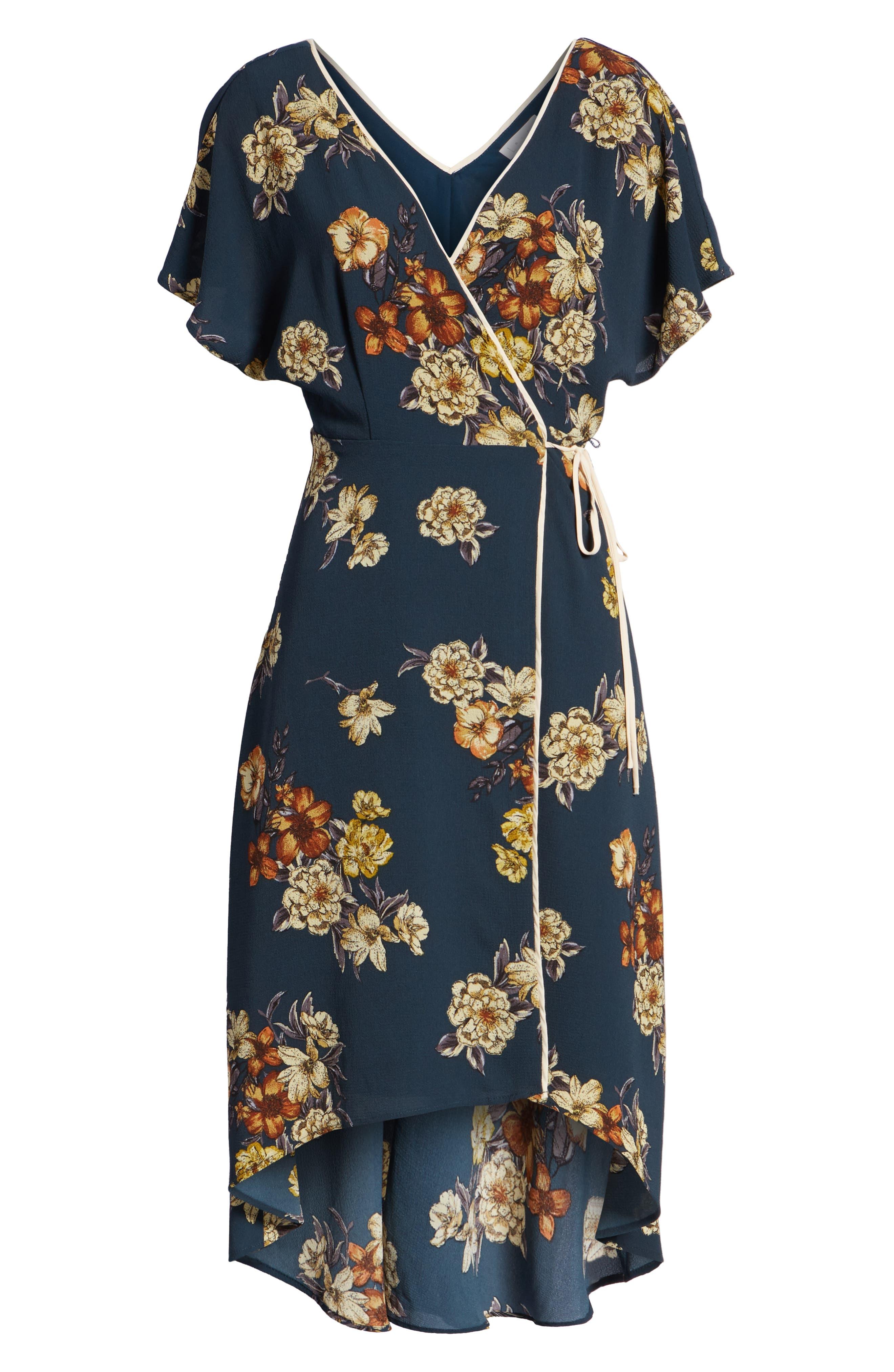 LEITH,                             Floral Wrap Dress,                             Alternate thumbnail 7, color,                             410