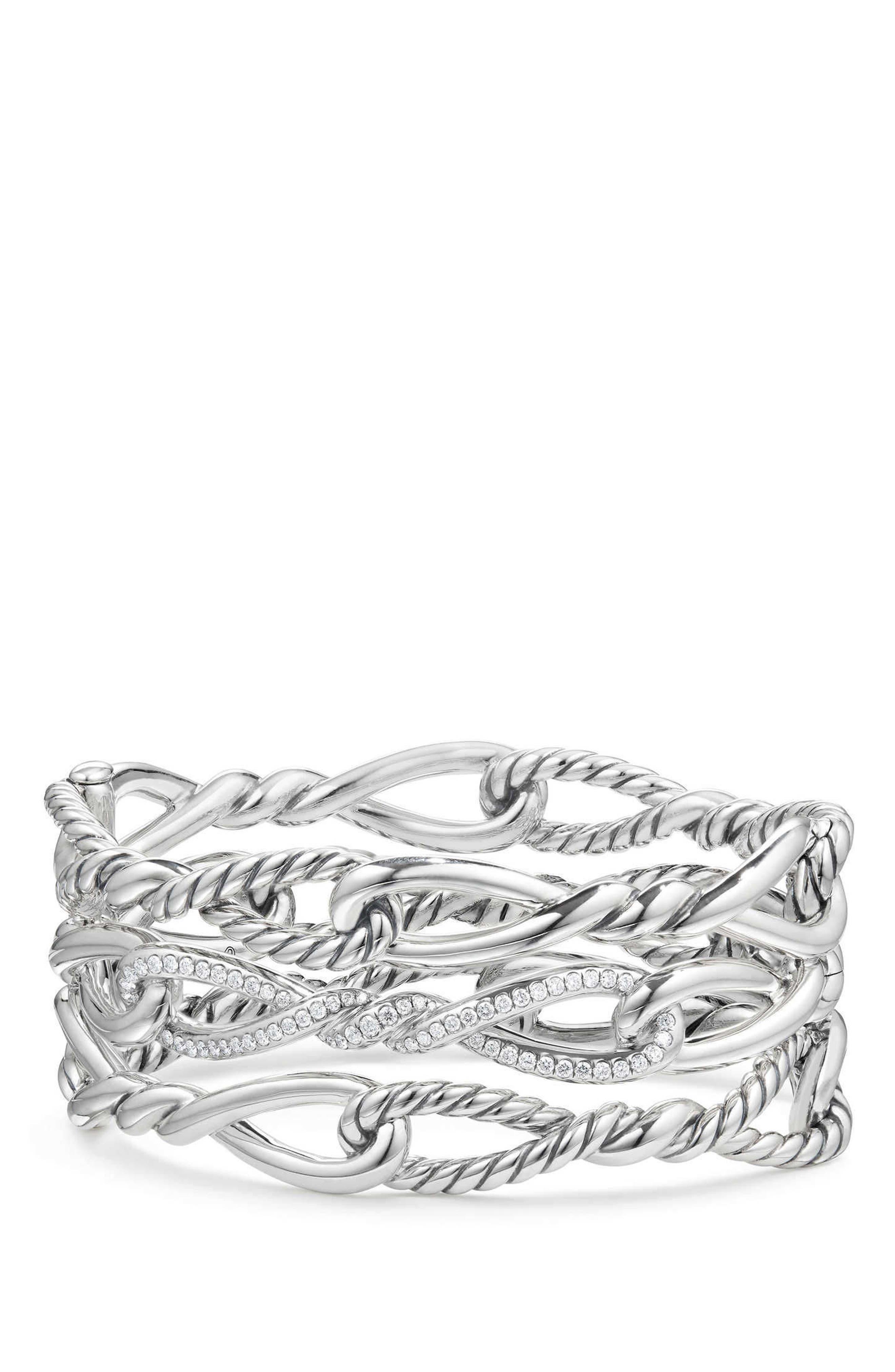 Continuance Multi Row Cuff Bracelet with Diamonds,                         Main,                         color, SILVER/ DIAMOND