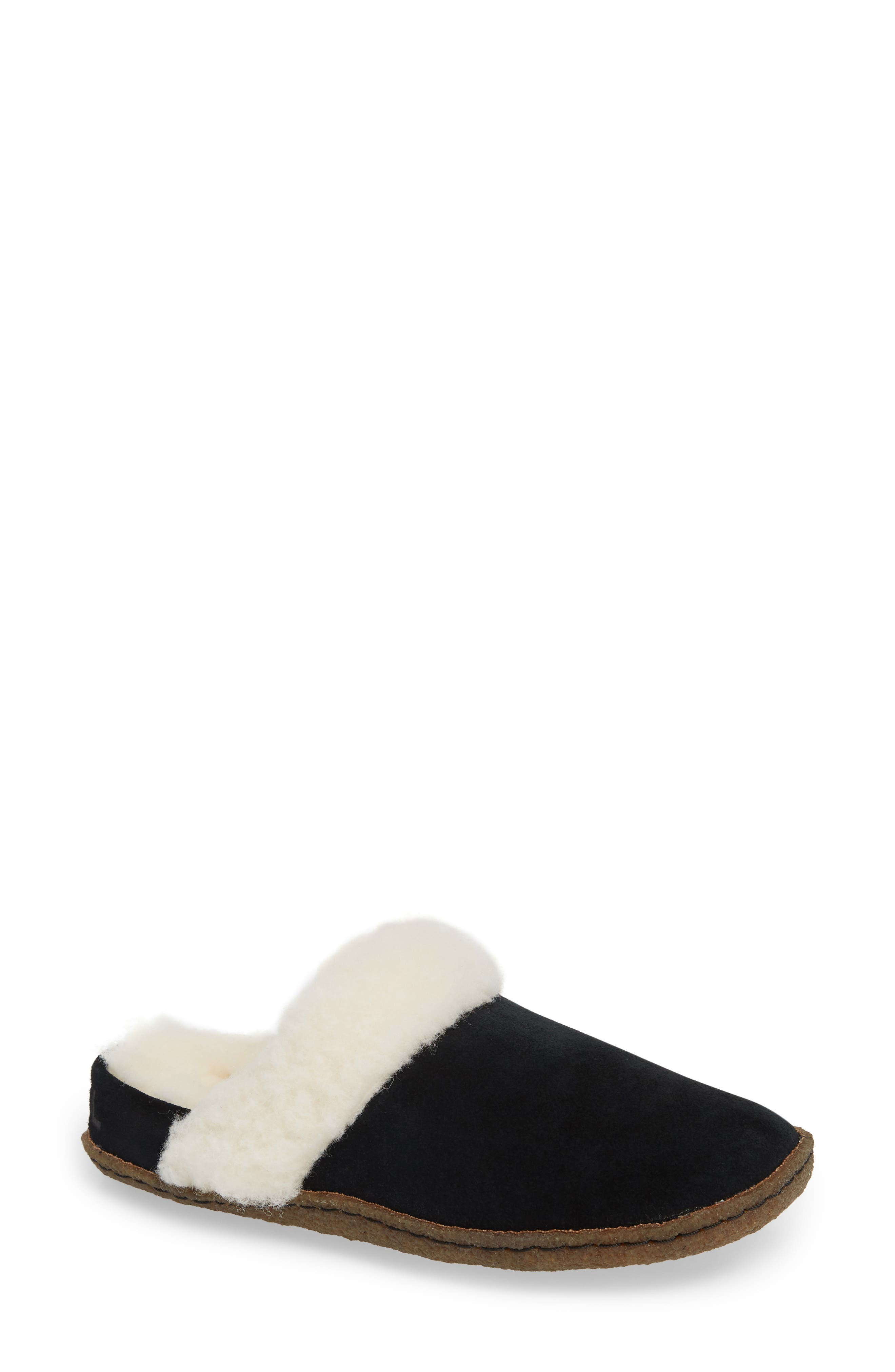 Nakiska II Faux Shearling Lined Slide Slipper,                         Main,                         color, BLACK/ NATURAL