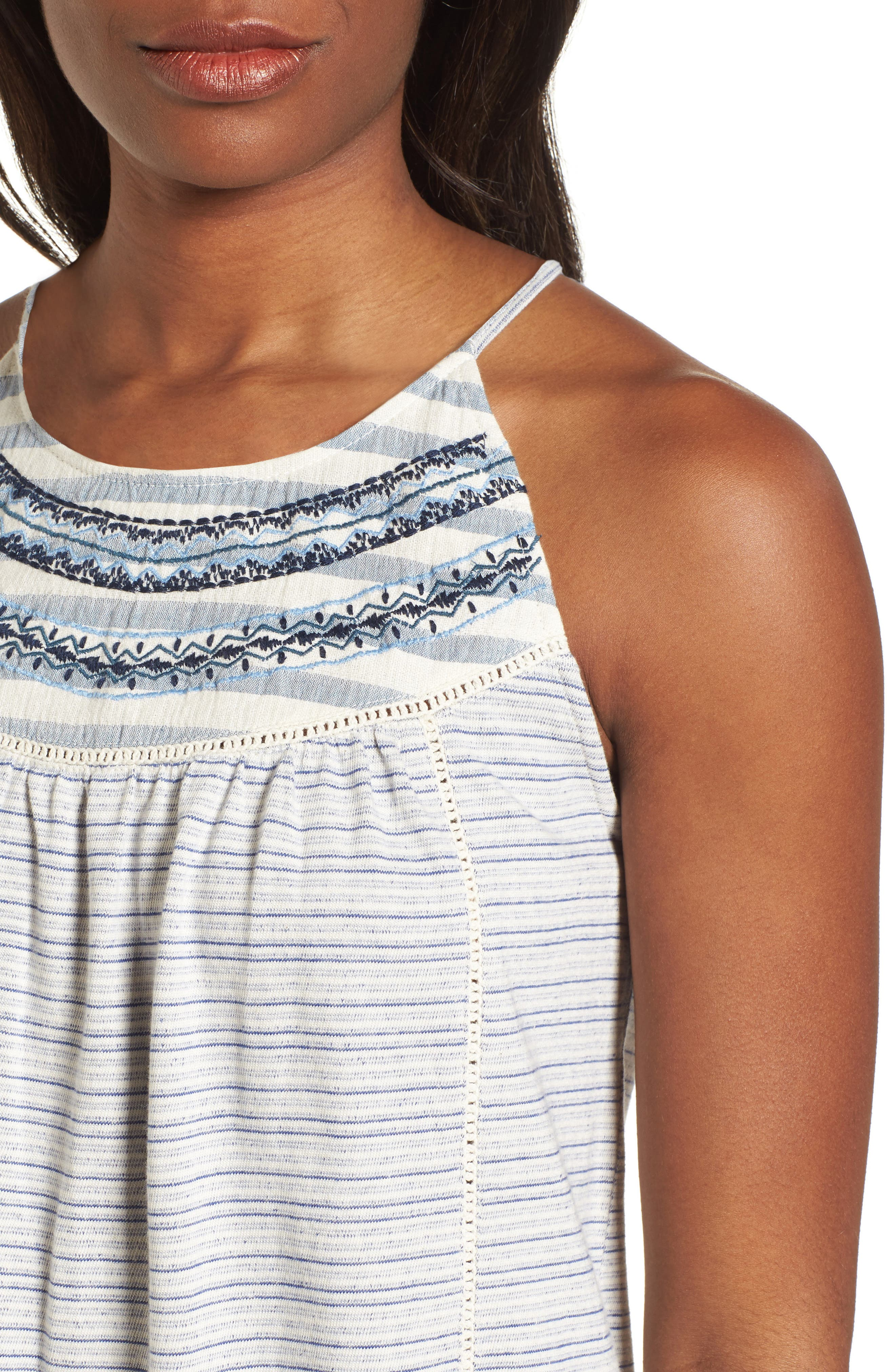 Stripe Mix Embroidered Tank,                             Alternate thumbnail 4, color,                             400