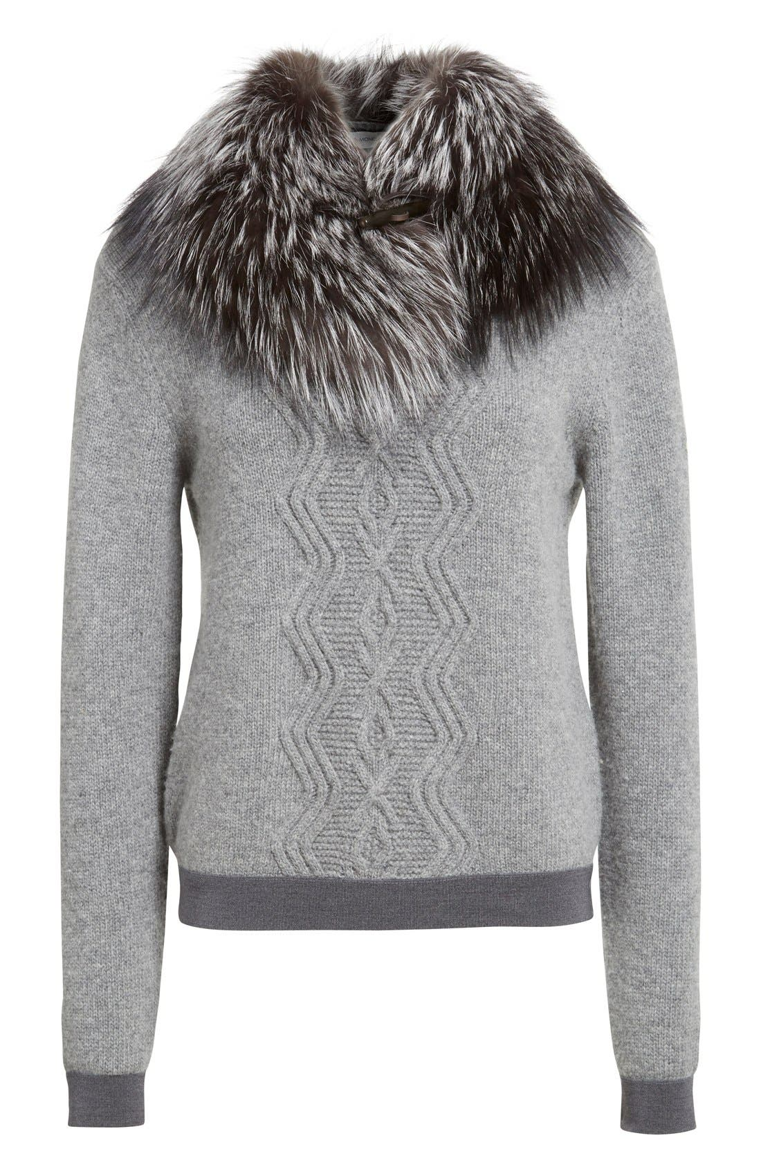 Wool & Cashmere Sweater with Removable Genuine Fox Fur Collar,                             Alternate thumbnail 6, color,                             031