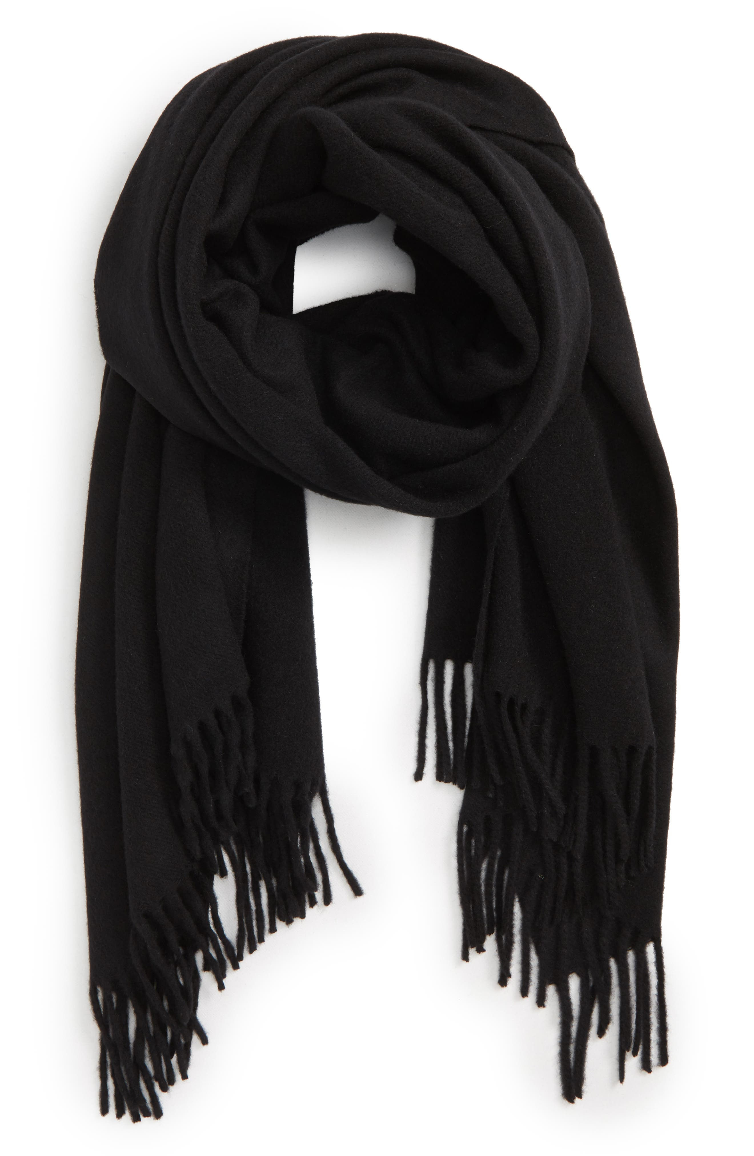 Classic Wool Scarf,                             Alternate thumbnail 3, color,                             BLACK