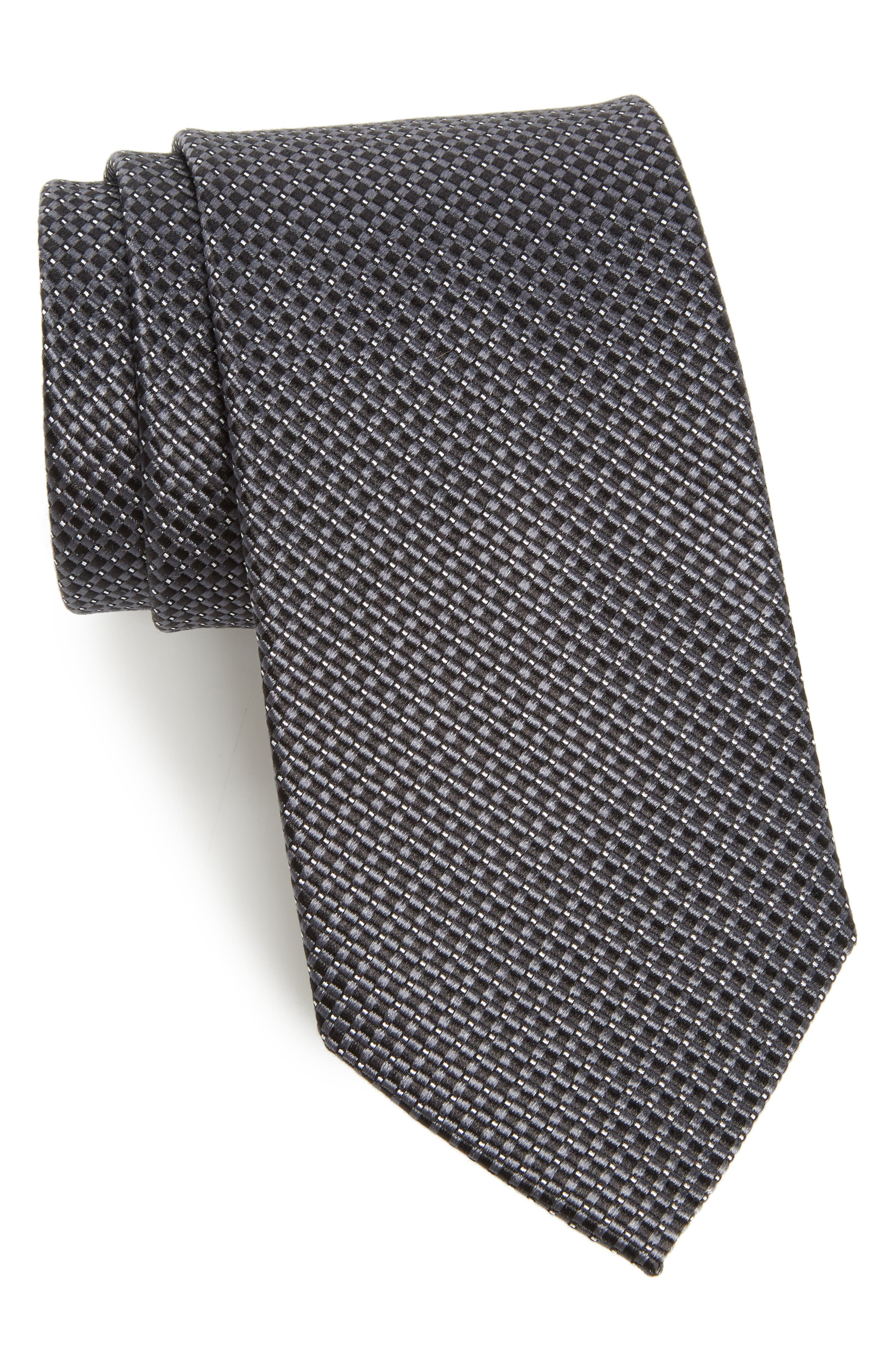 Microgrid Silk Tie,                         Main,                         color, BLACK