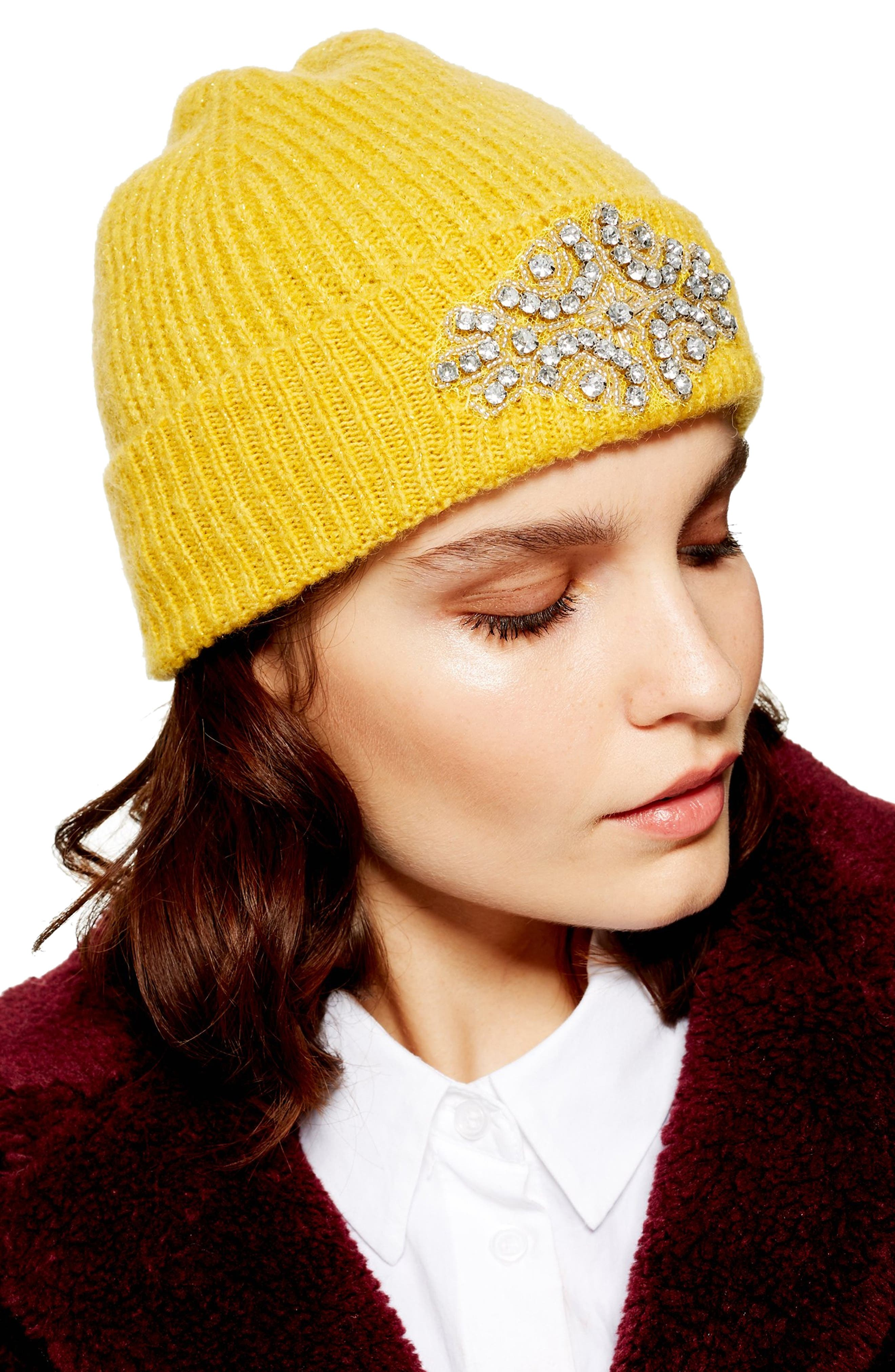 Metallic Embroidered Beanie,                             Alternate thumbnail 2, color,                             MUSTARD