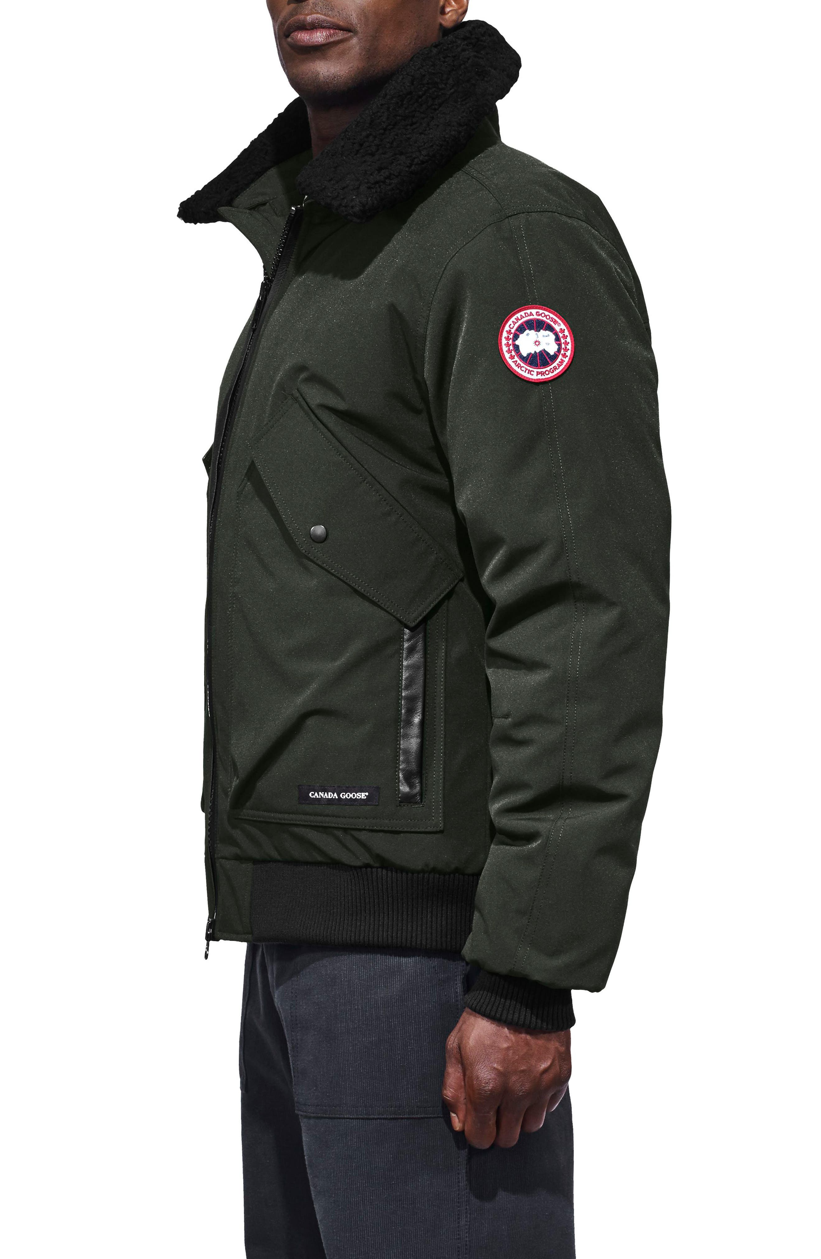 CANADA GOOSE,                             Bromley Slim Fit Down Bomber Jacket with Genuine Shearling Collar,                             Alternate thumbnail 3, color,                             VOLCANO