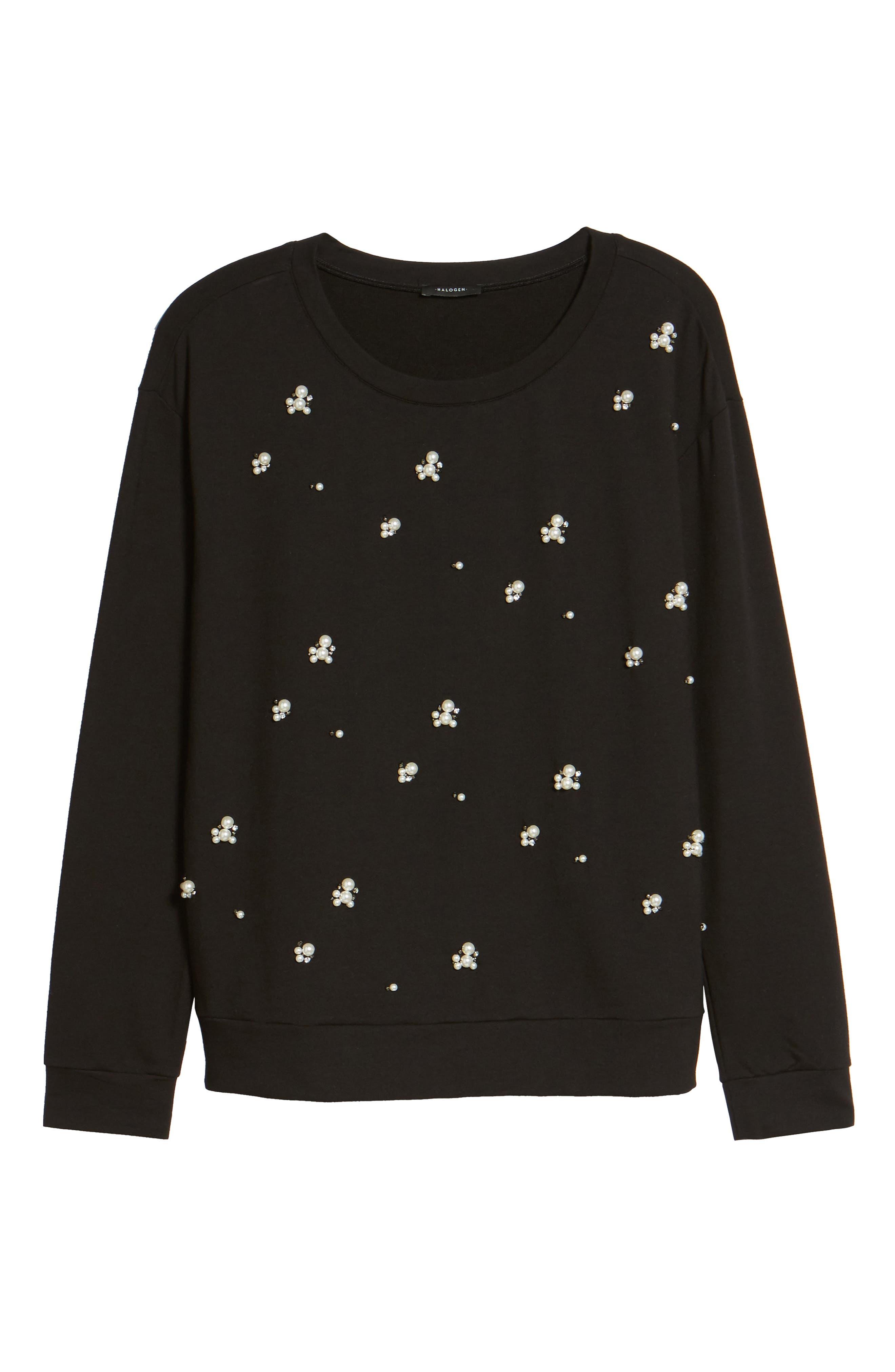 Embellished Sweatshirt,                             Alternate thumbnail 6, color,                             001