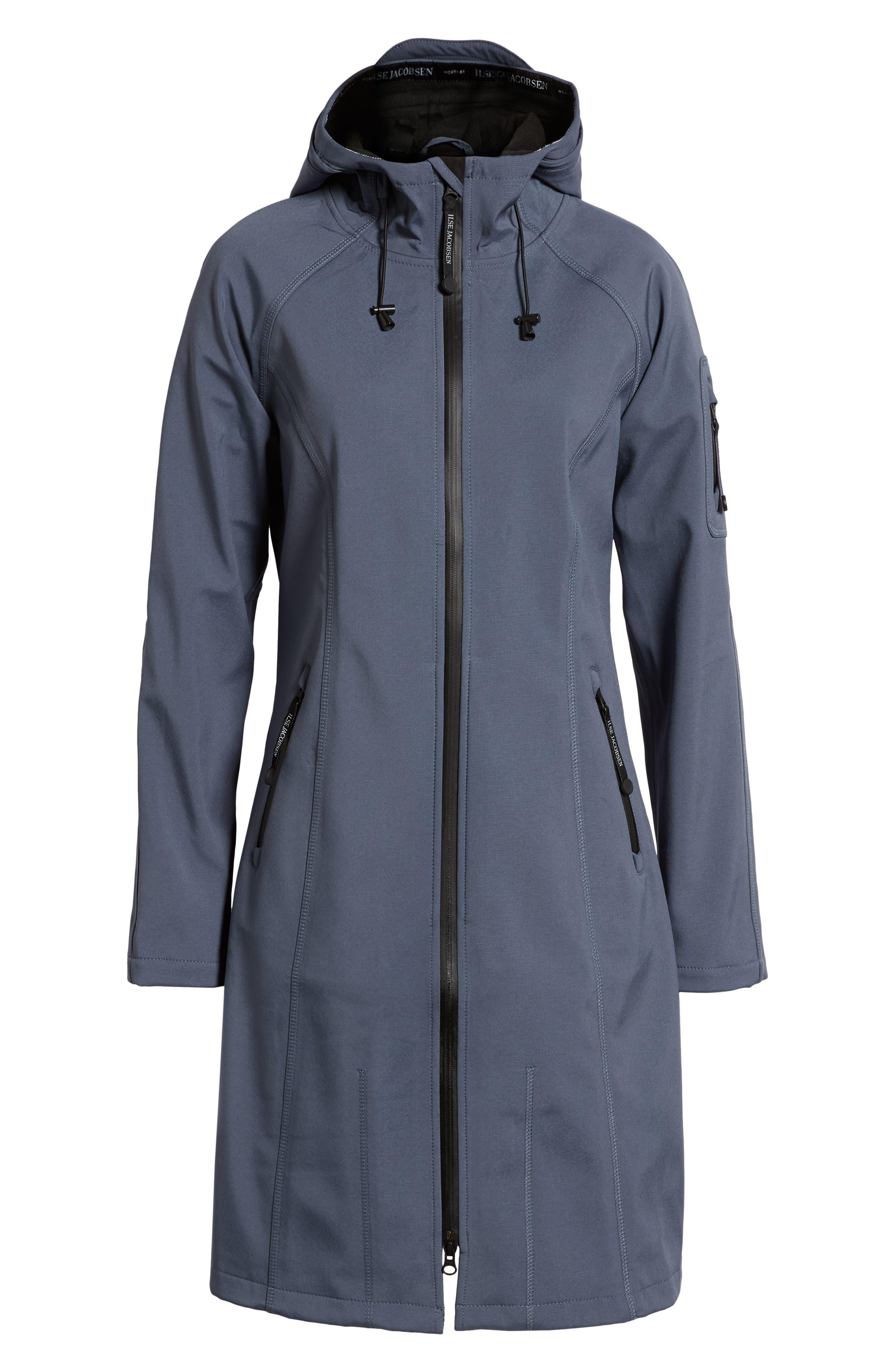 Long Hooded Raincoat,                             Alternate thumbnail 5, color,                             BLUE GRAYNESS