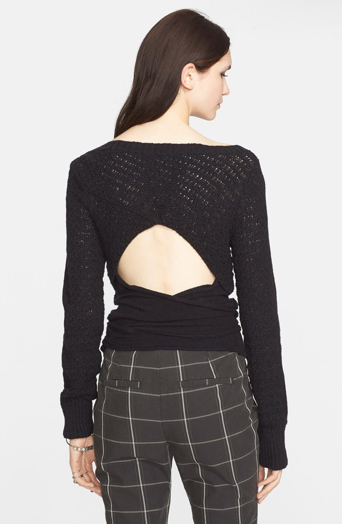 FREE PEOPLE,                             Open Back Pullover,                             Alternate thumbnail 2, color,                             001