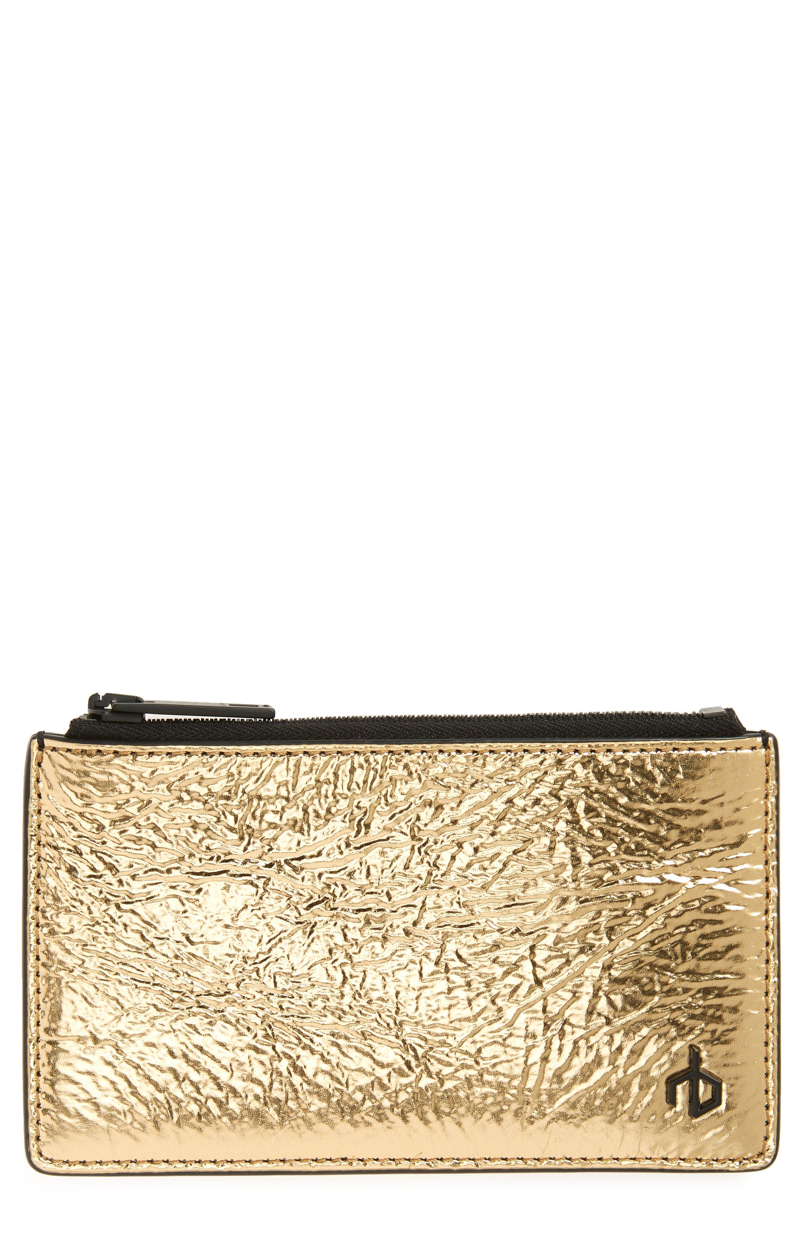 Metallic Leather Zip Card Case,                         Main,                         color, 711