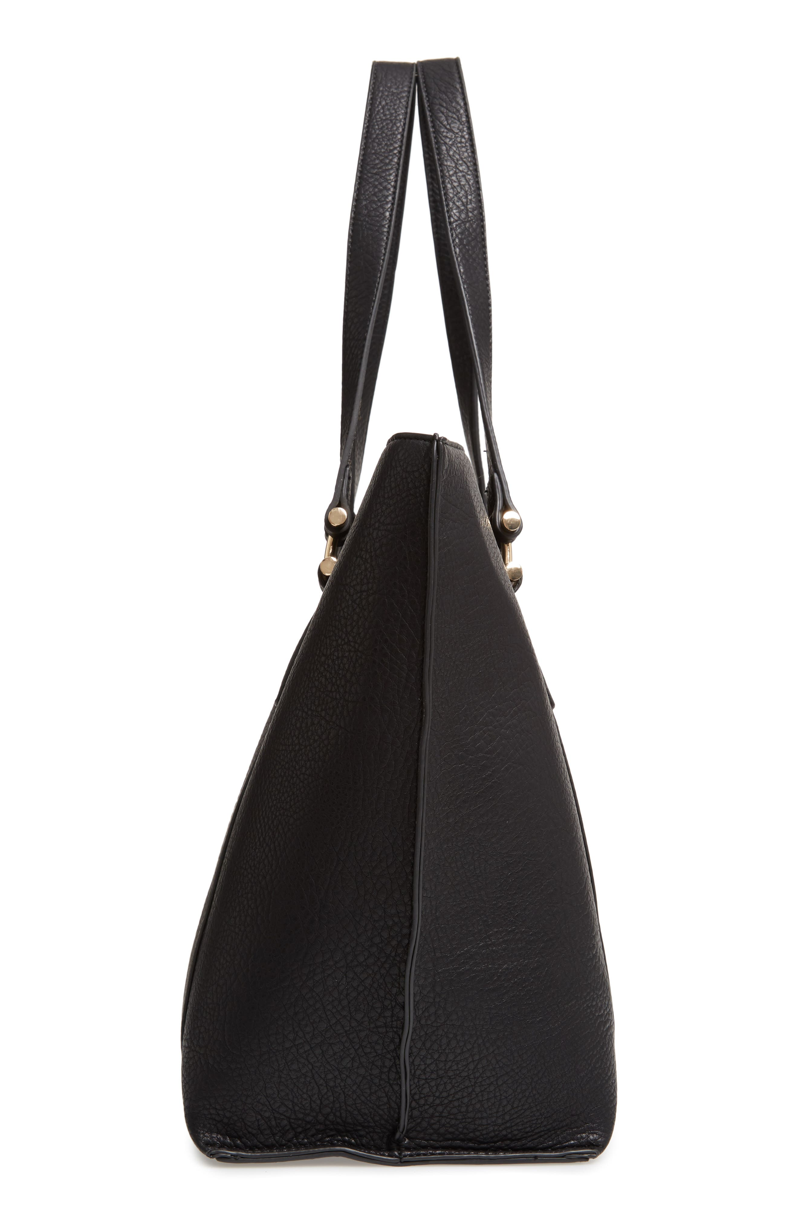 March Faux Leather Tote,                             Alternate thumbnail 5, color,                             BLACK