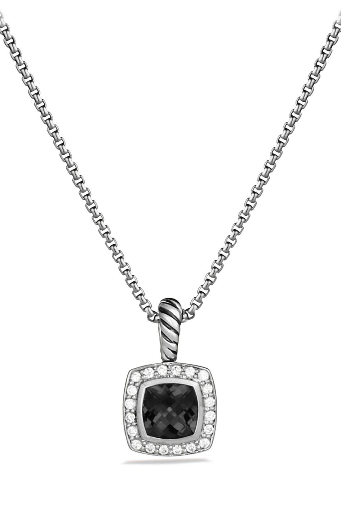 'Albion' Petite Pendant with Semiprecious Stone & Diamonds on Chain,                             Main thumbnail 1, color,                             BLACK ONYX