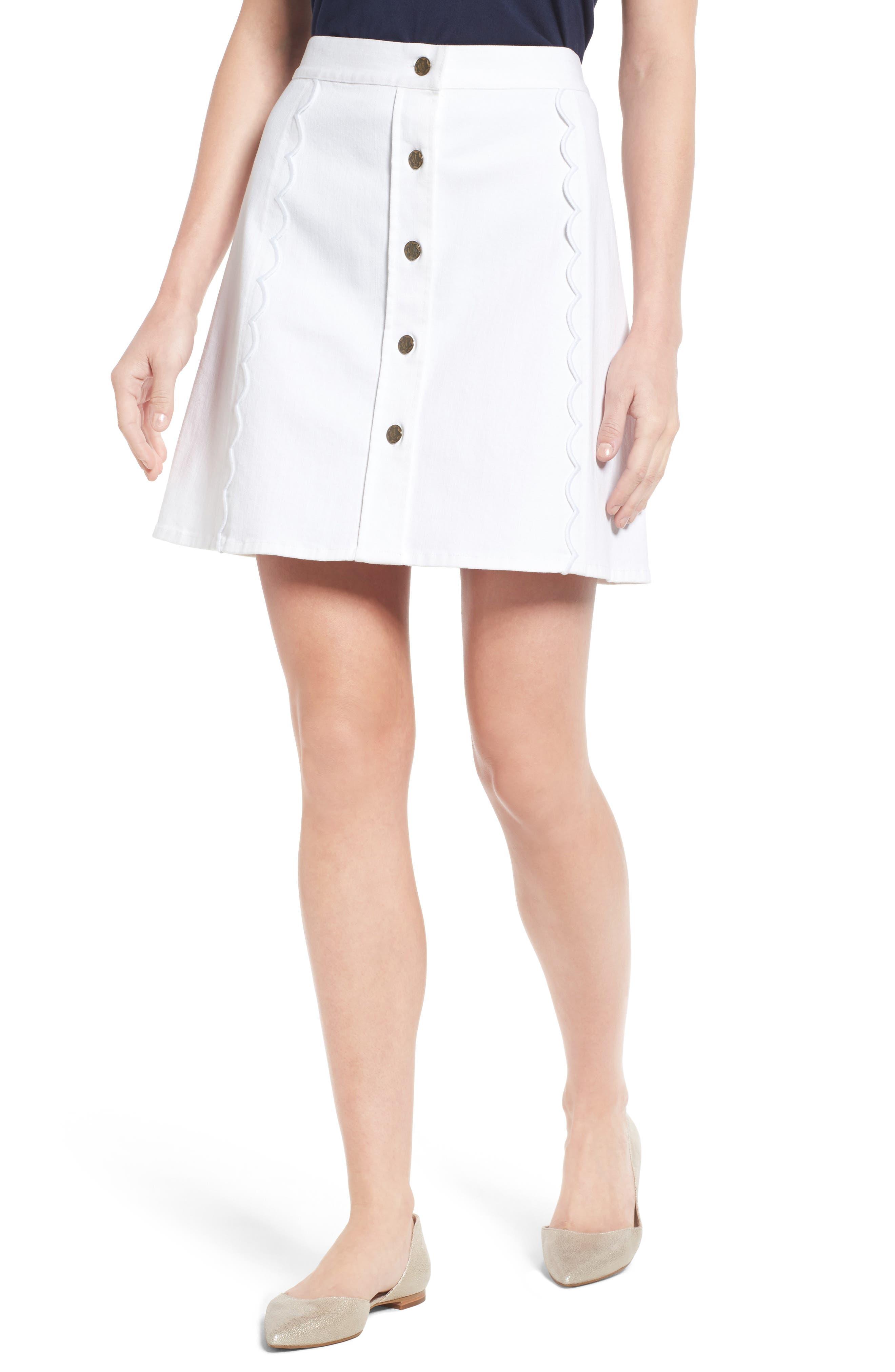 Stretch Denim Miniskirt,                         Main,                         color, 106