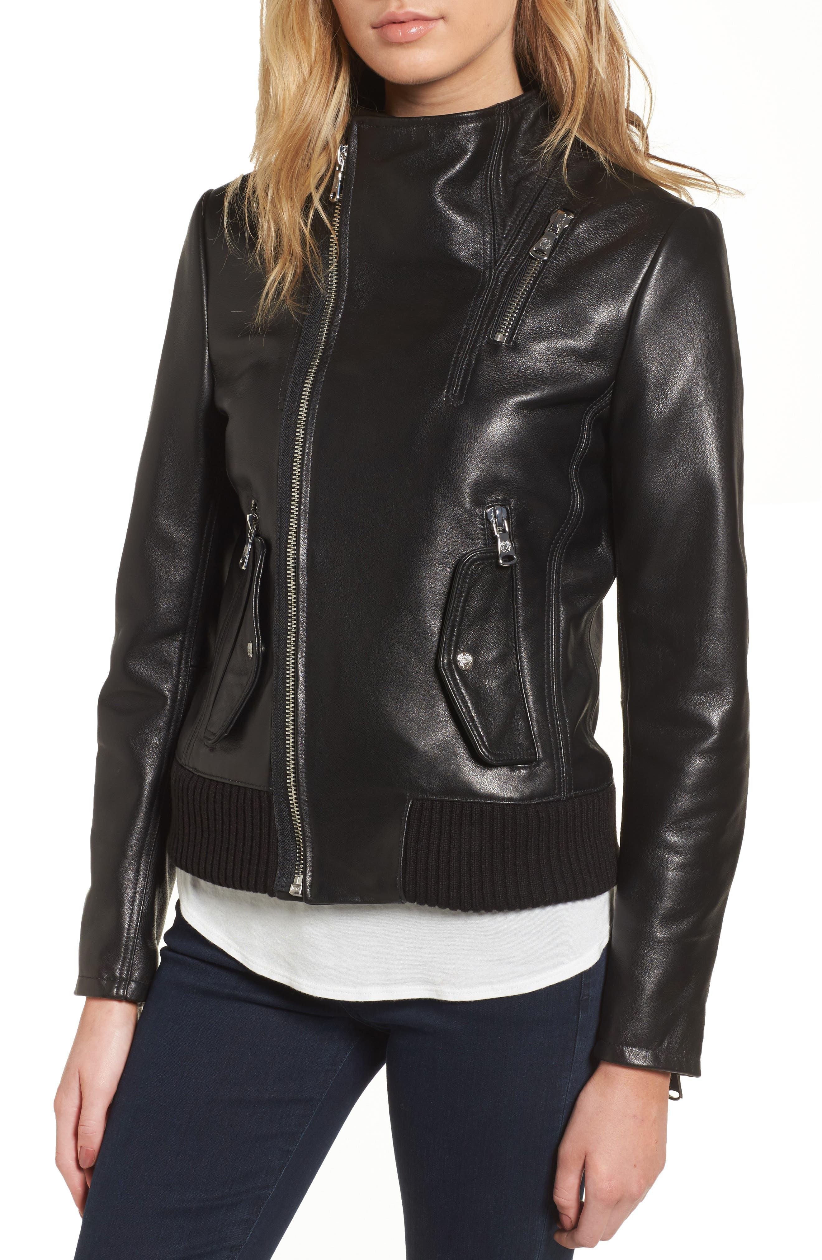 Leather Bomber Jacket,                             Alternate thumbnail 4, color,