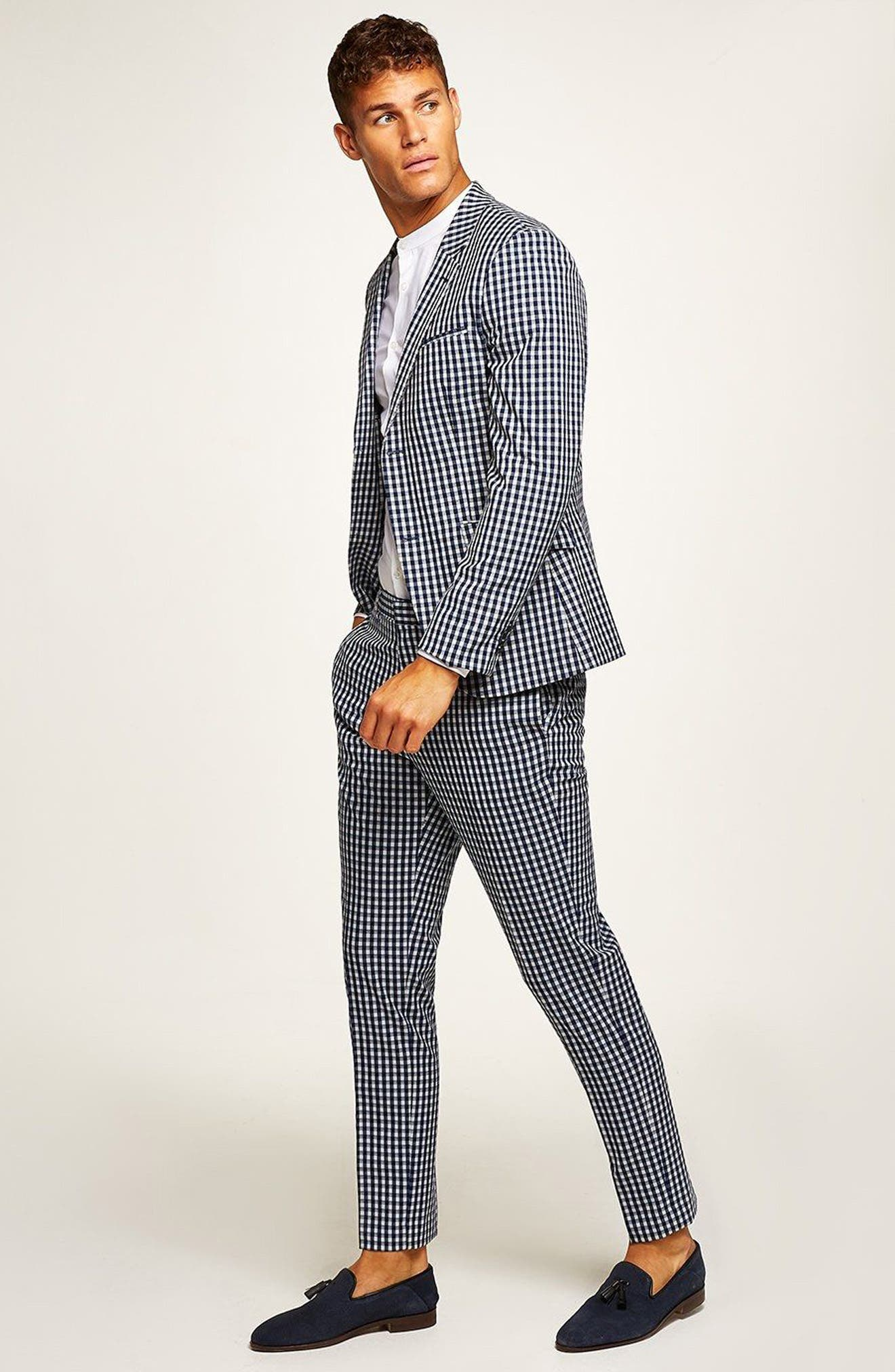 Muscle Fit Check Suit Trousers,                             Alternate thumbnail 4, color,                             400