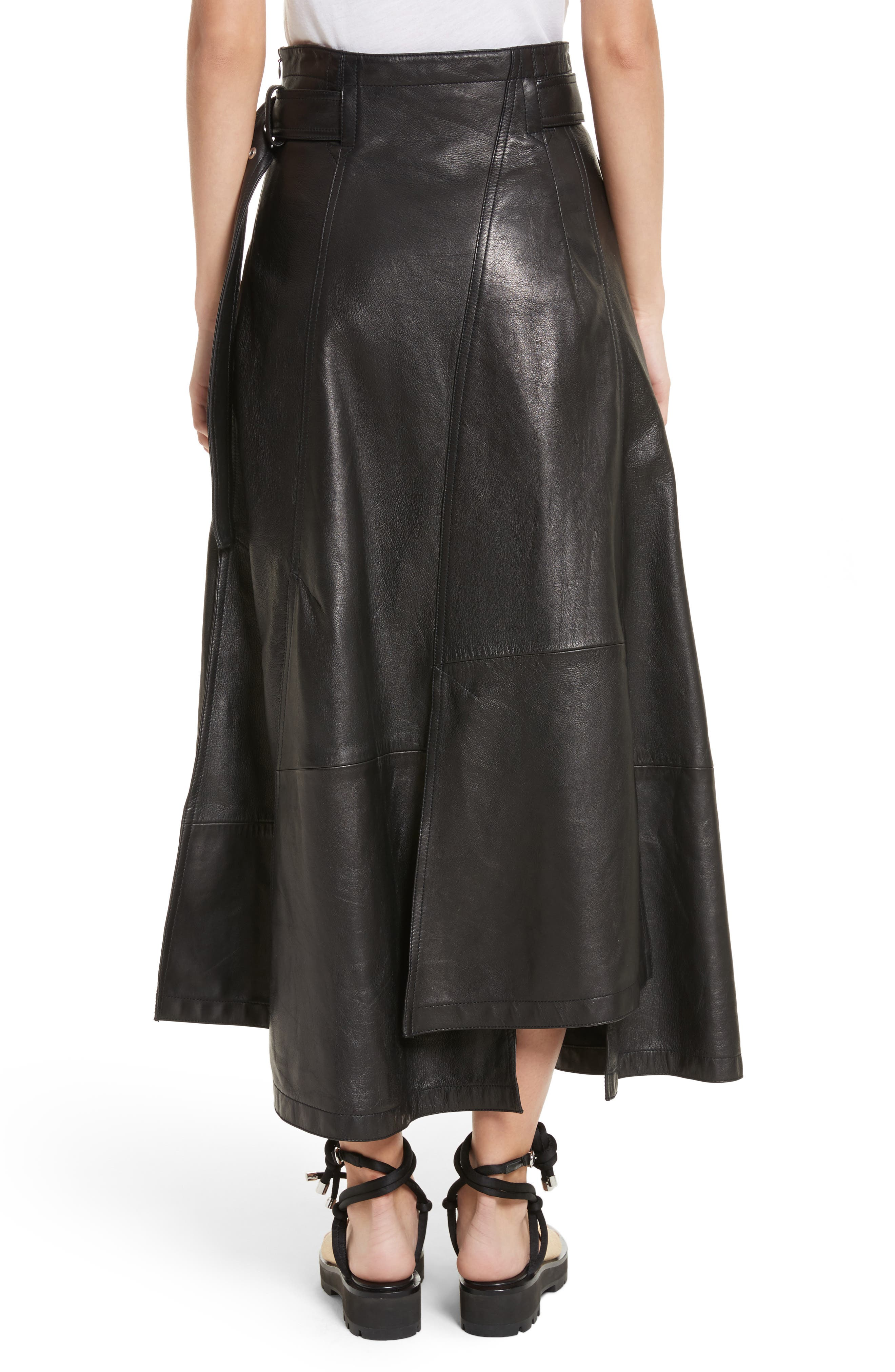 Leather Utility Skirt,                             Alternate thumbnail 2, color,                             001