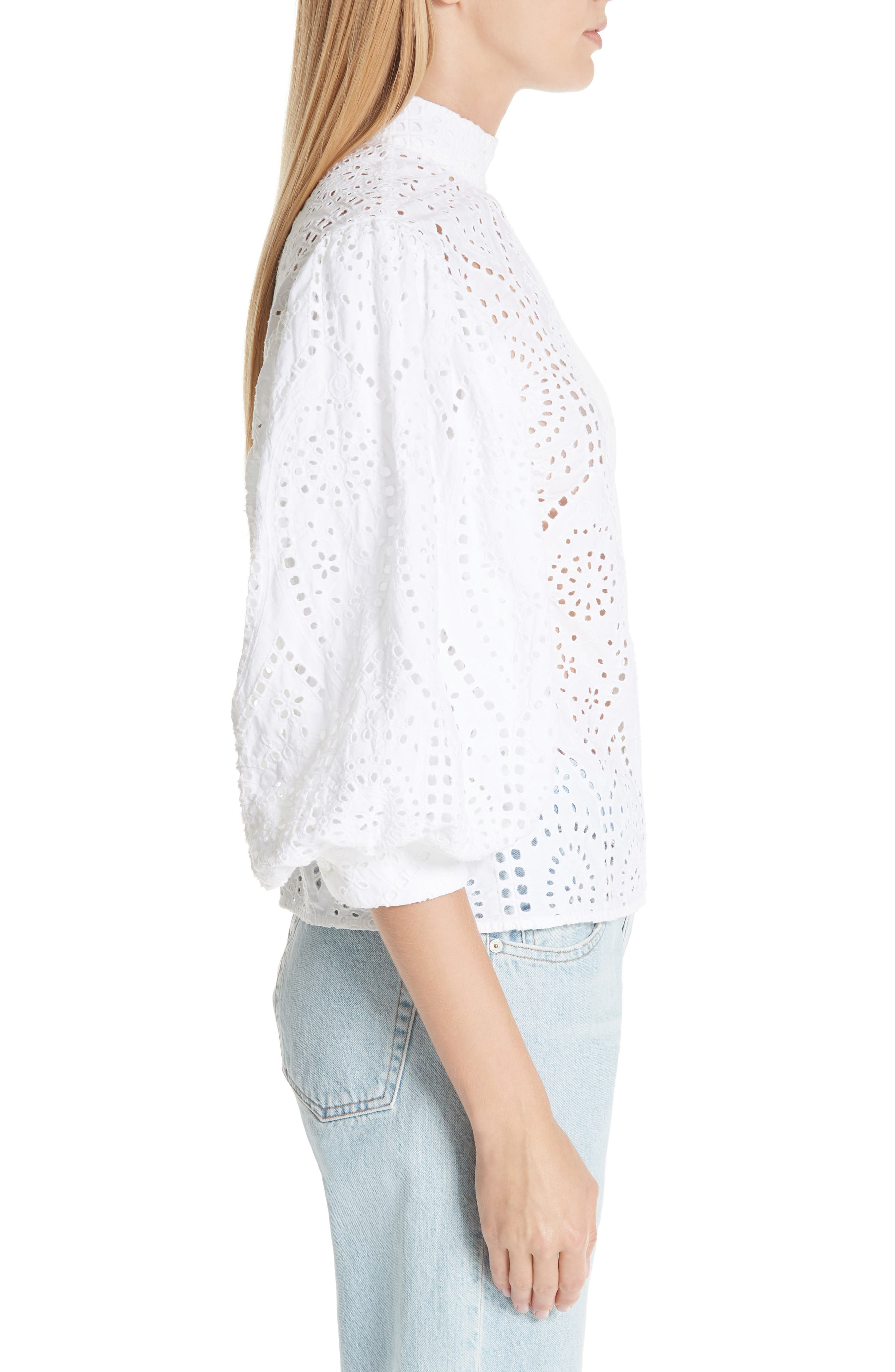 Broderie Anglaise Shirt,                             Alternate thumbnail 3, color,                             BRIGHT WHITE 151