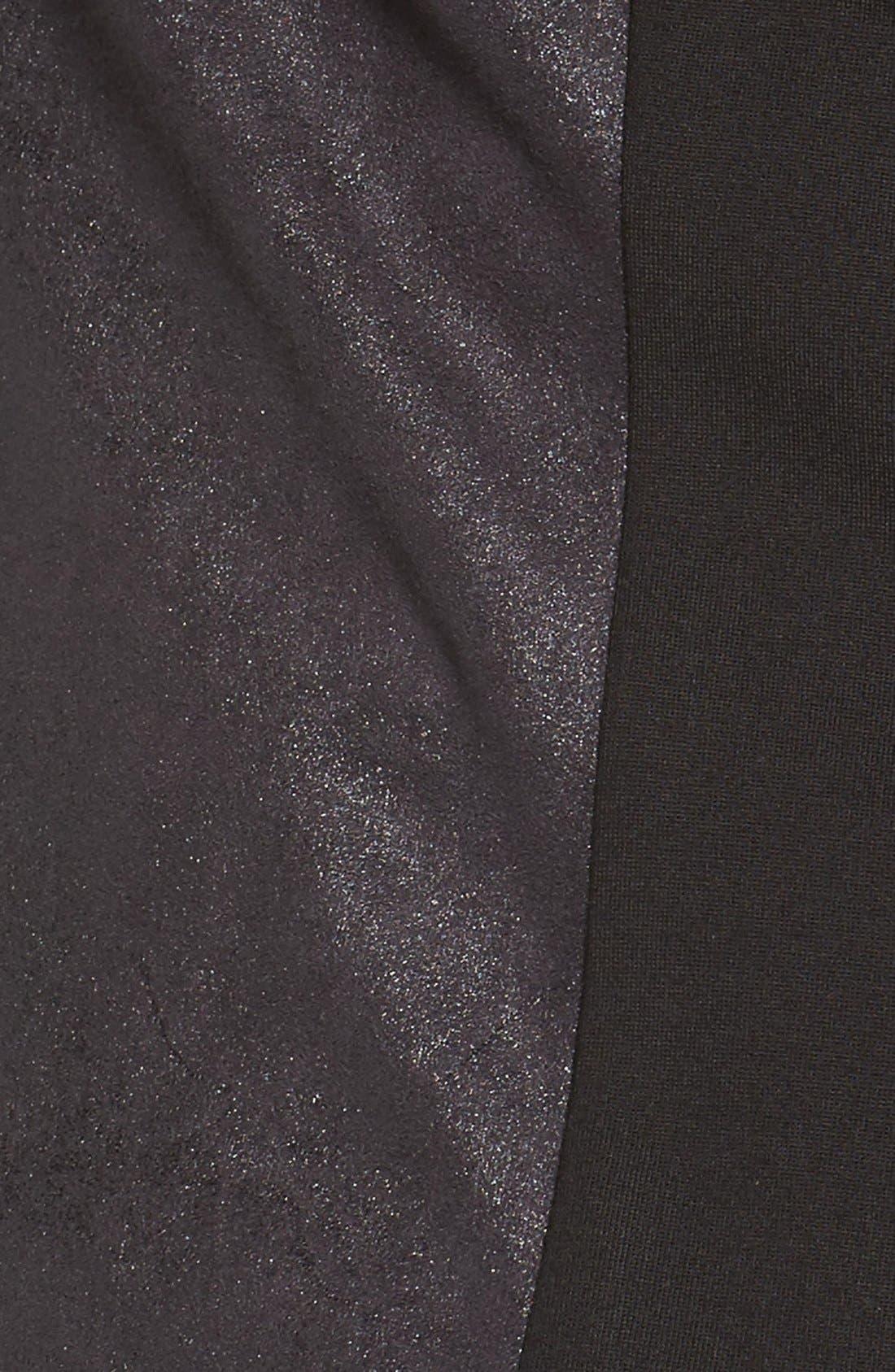 'Shanan' Faux Leather & Knit Drape Front Jacket,                             Alternate thumbnail 5, color,                             001