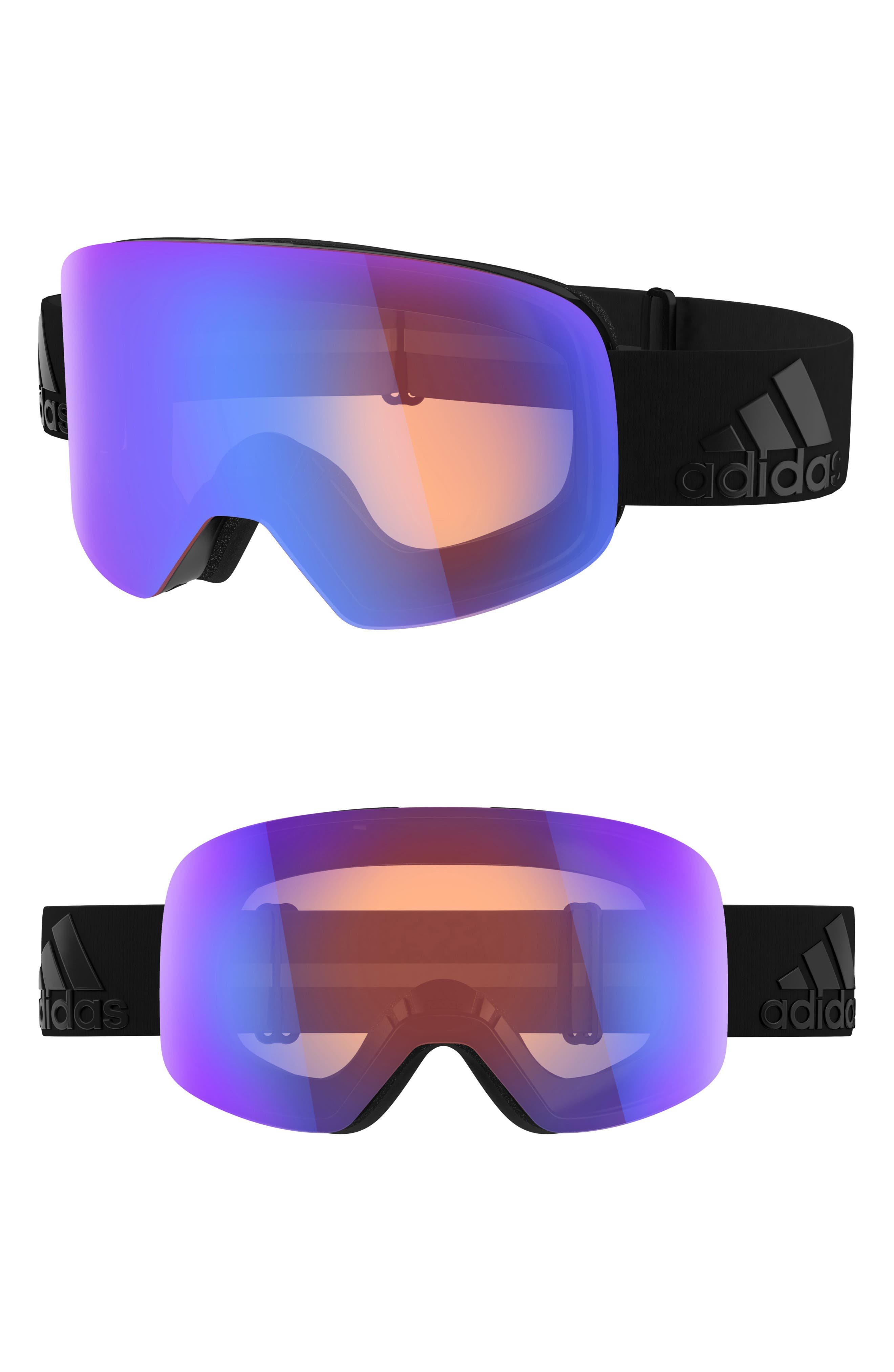 Backland Spherical Mirrored Snowsports Goggles,                         Main,                         color, BLACK MATTE/ RED BLUE