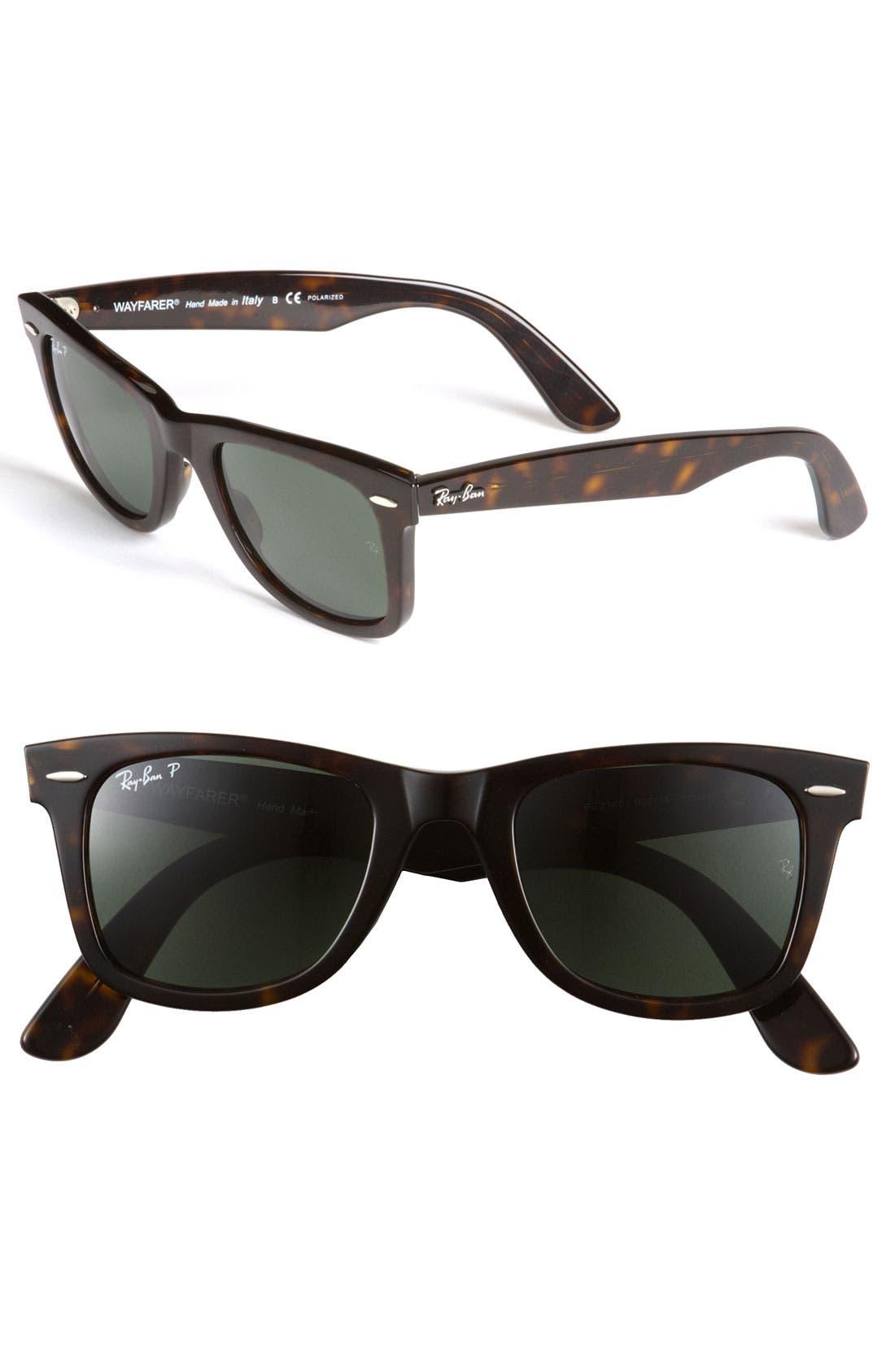'Classic Wayfarer' 50mm Sunglasses,                             Main thumbnail 1, color,                             DARK TORTOISE/ GREEN