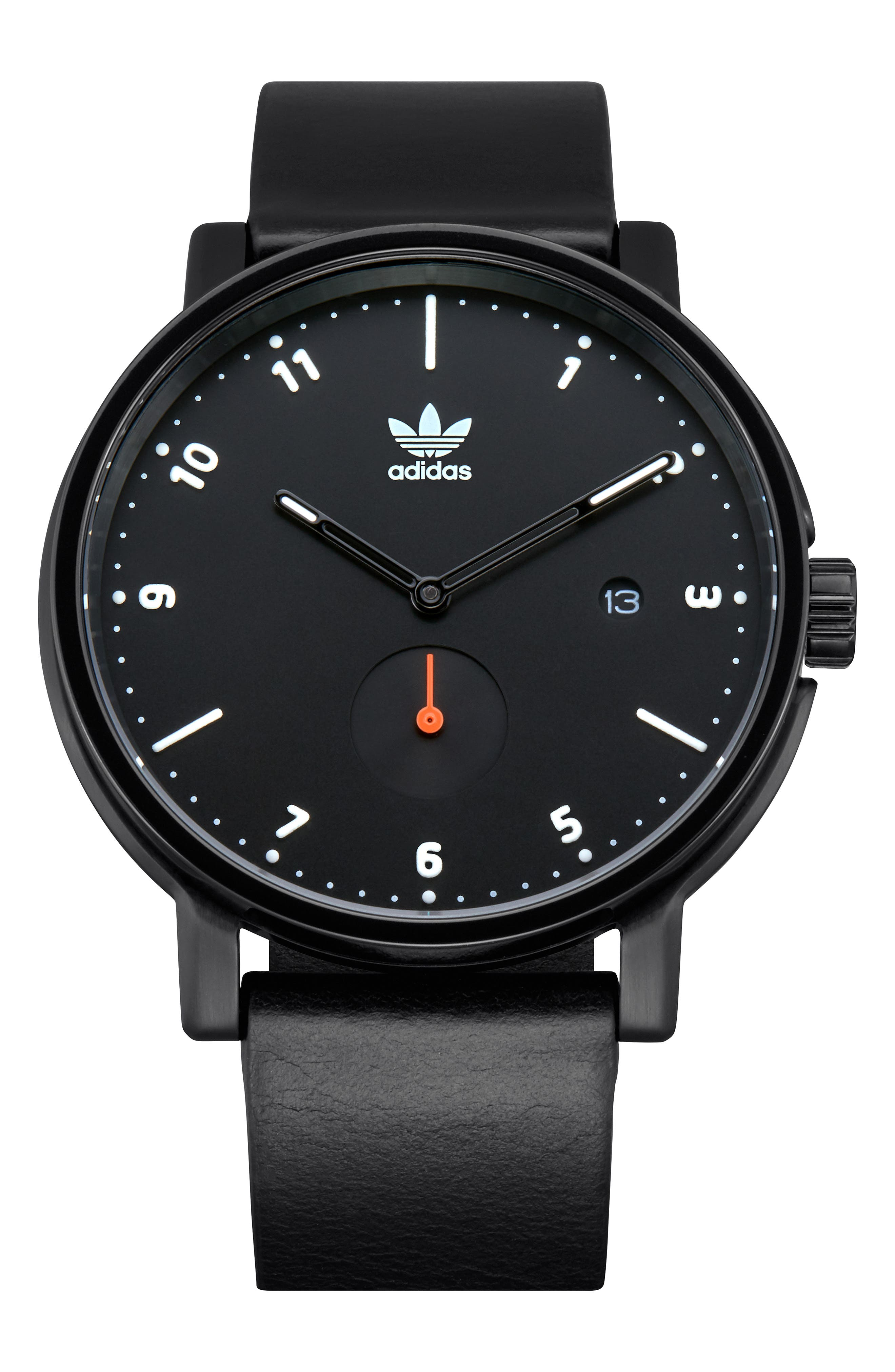 ADIDAS,                             District Leather Strap Watch, 40mm,                             Main thumbnail 1, color,                             BLACK/ ORANGE/ BLACK