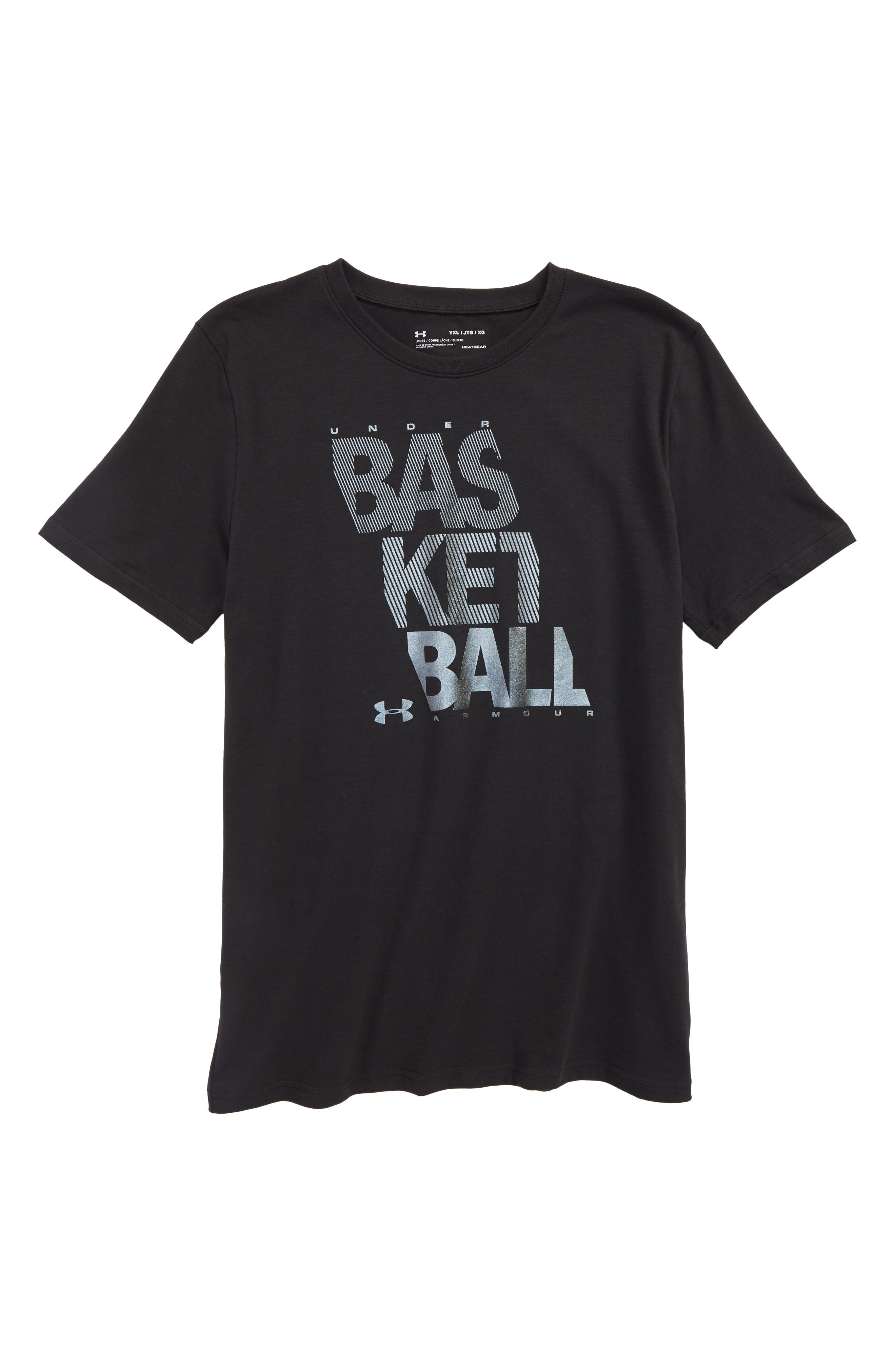 Basketball Graphic HeatGear<sup>®</sup> T-Shirt,                         Main,                         color, 001