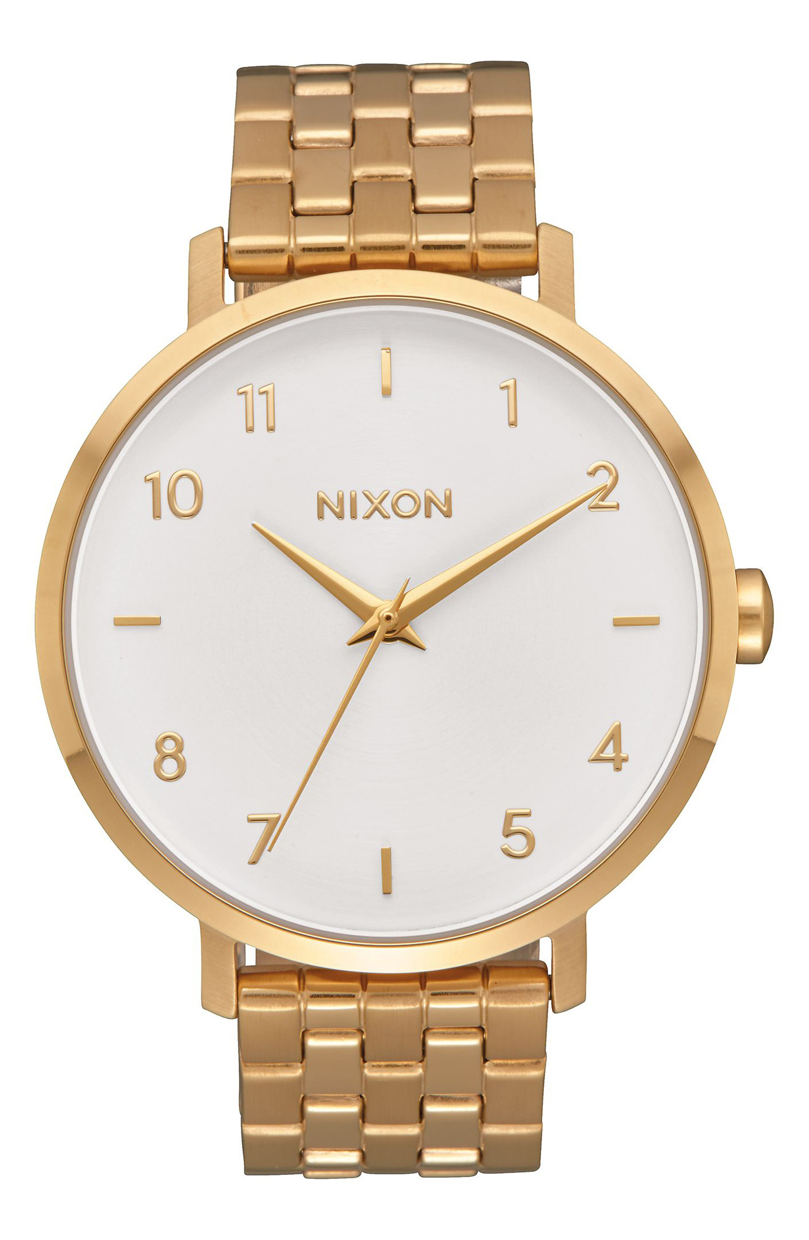 The Arrow Bracelet Watch, 38mm,                             Main thumbnail 1, color,                             GOLD/ WHITE/ GOLD