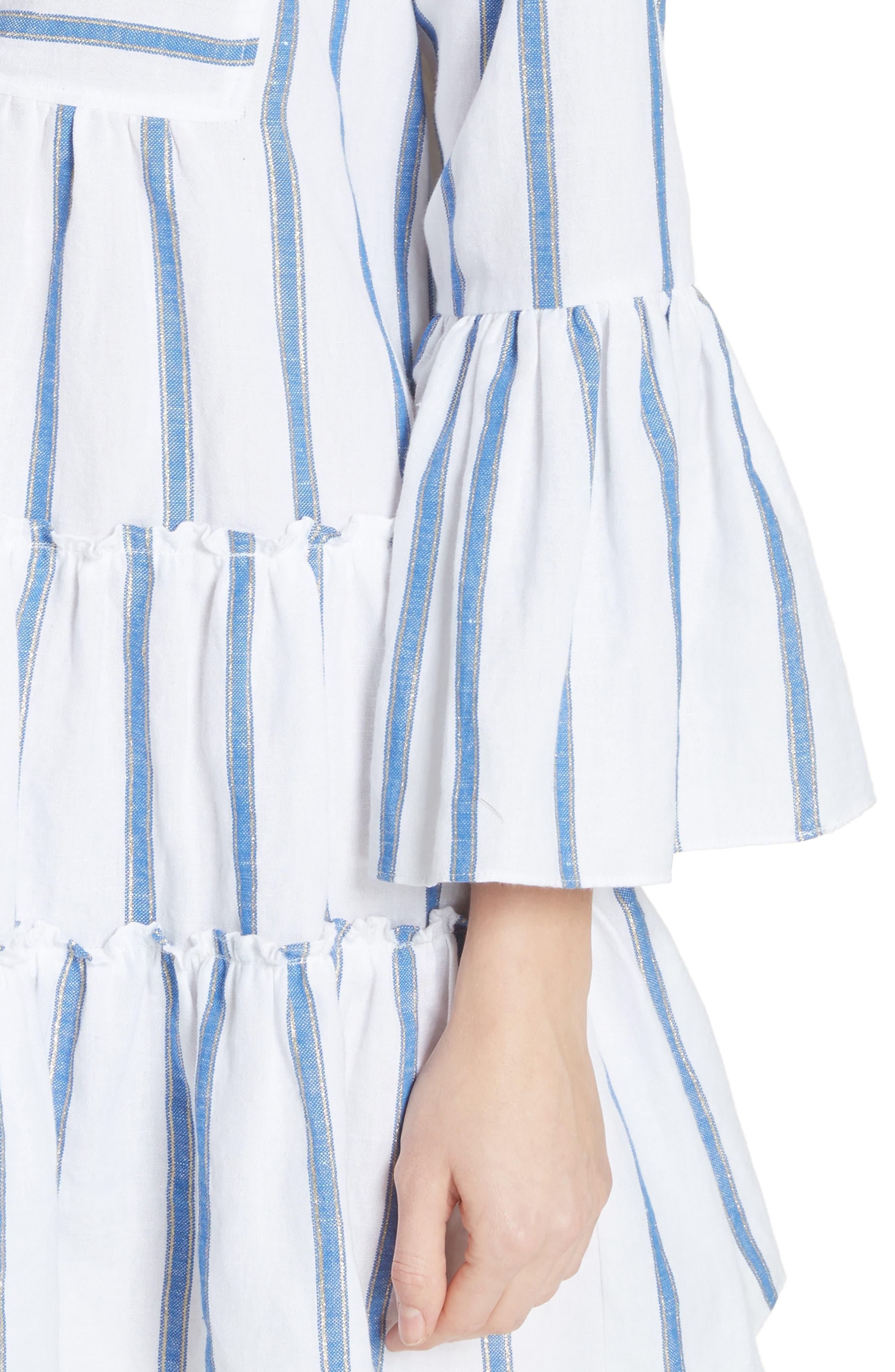 Lyssa Cotton & Linen Blend Dress,                             Alternate thumbnail 4, color,                             WHITE/ BLUE