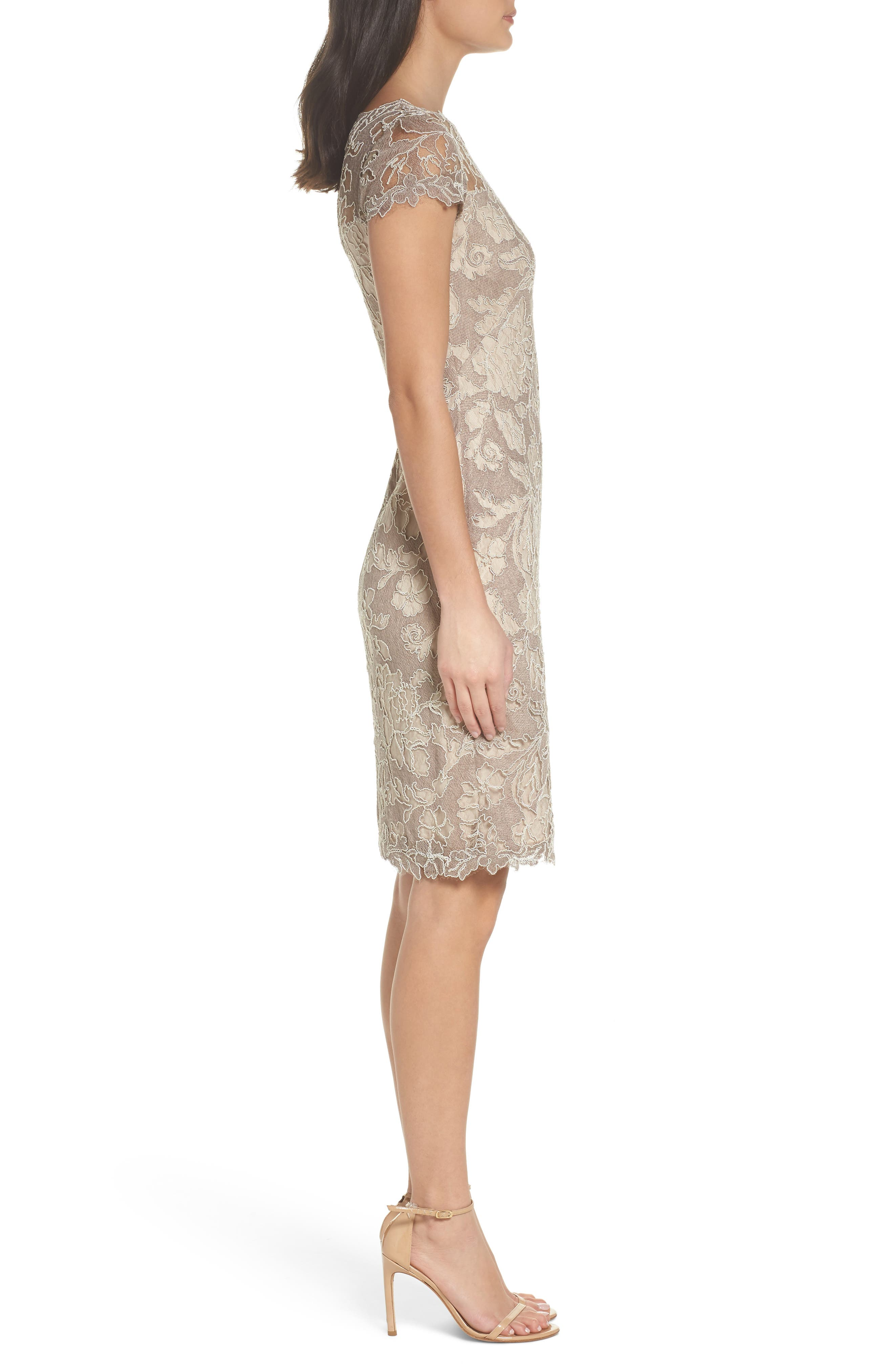 Embroidered Lace Sheath Dress,                             Alternate thumbnail 3, color,                             261