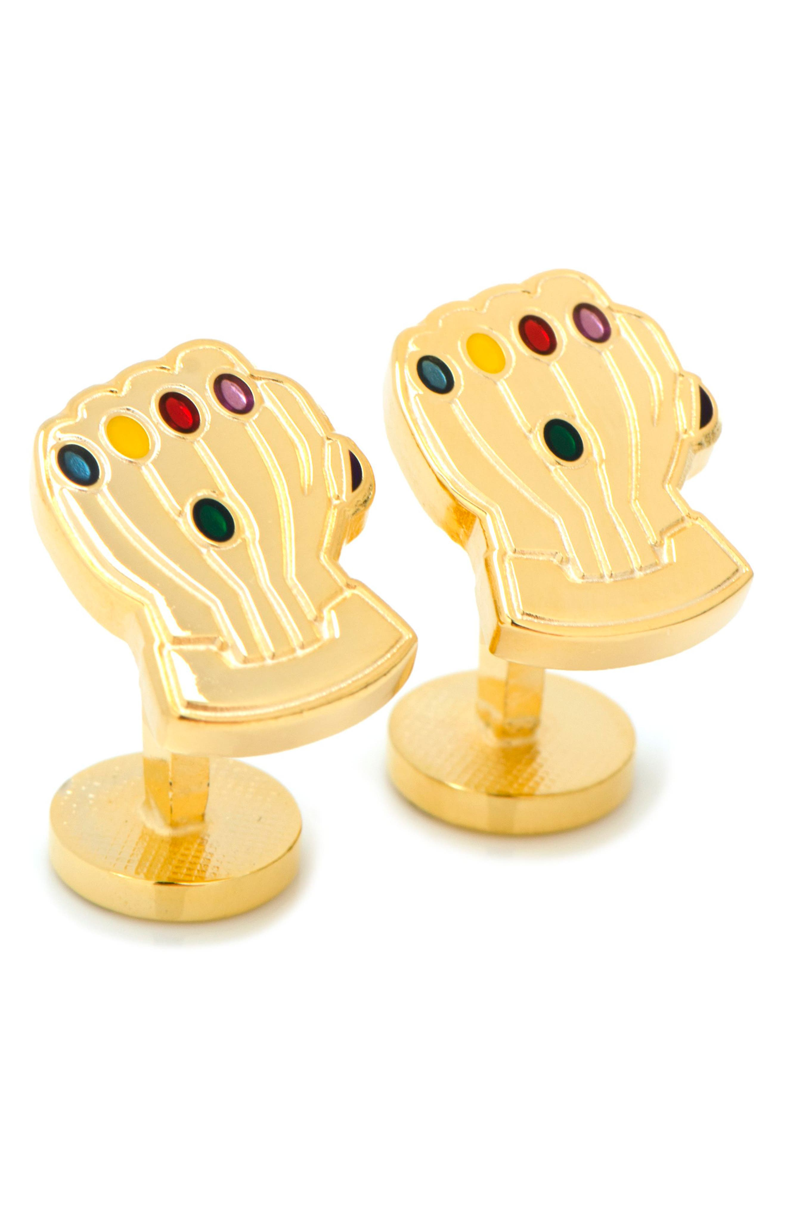 Thanos Infinity Gauntlet Cuff Links,                             Main thumbnail 1, color,                             GOLD