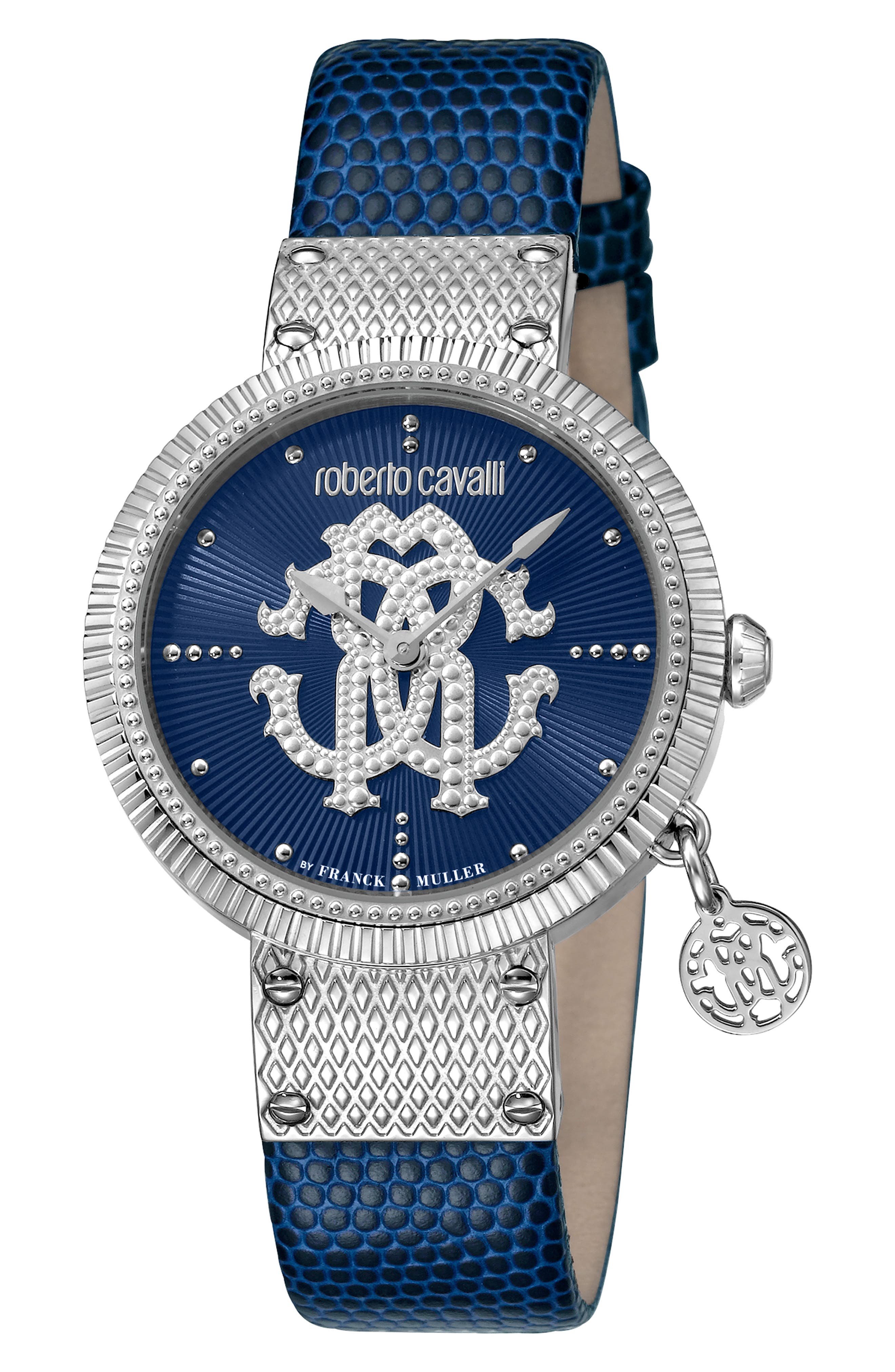 ROBERTO CAVALLI BY FRANCK MULLER Dotted Leather Strap Watch, 34Mm in Blue/ Silver