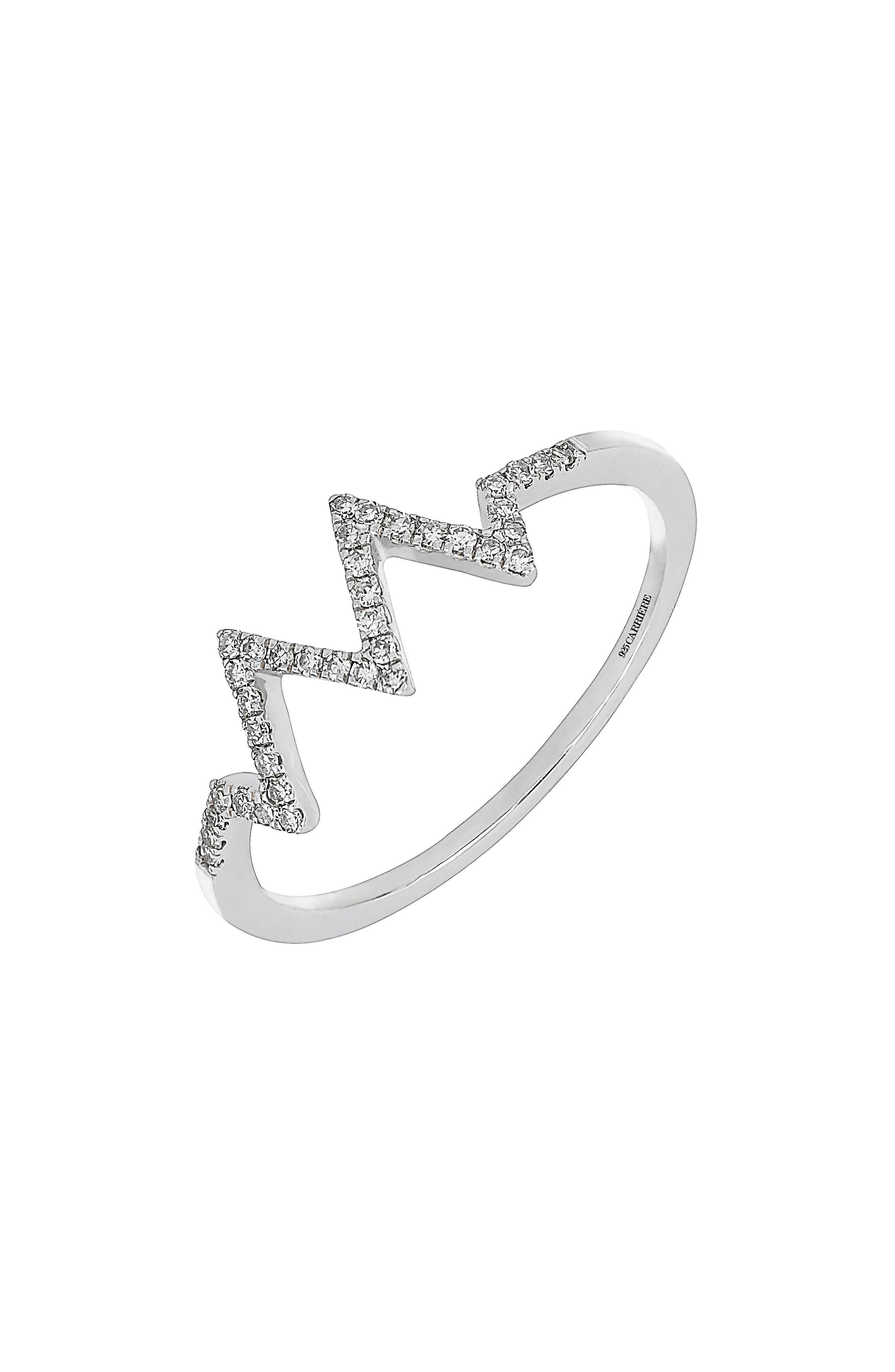 Carrière Zigzag Diamond Ring,                         Main,                         color,