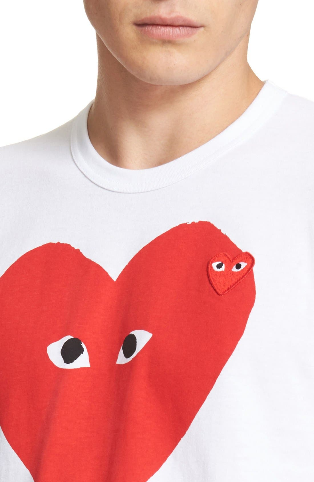 Comme des Garçons PLAY Graphic T-Shirt,                             Alternate thumbnail 5, color,                             WHITE