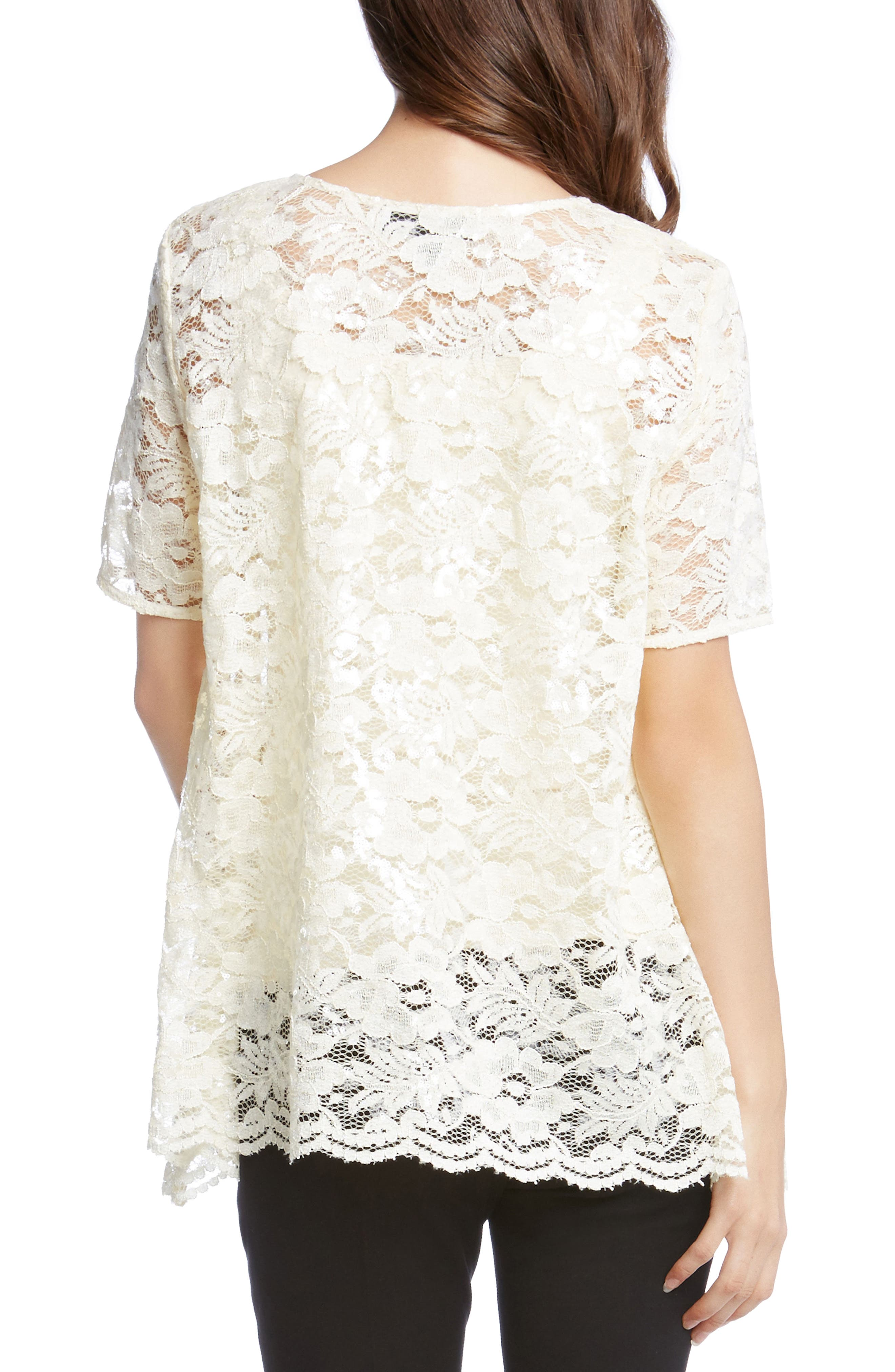 Sequin Lace Flare Top,                             Alternate thumbnail 4, color,