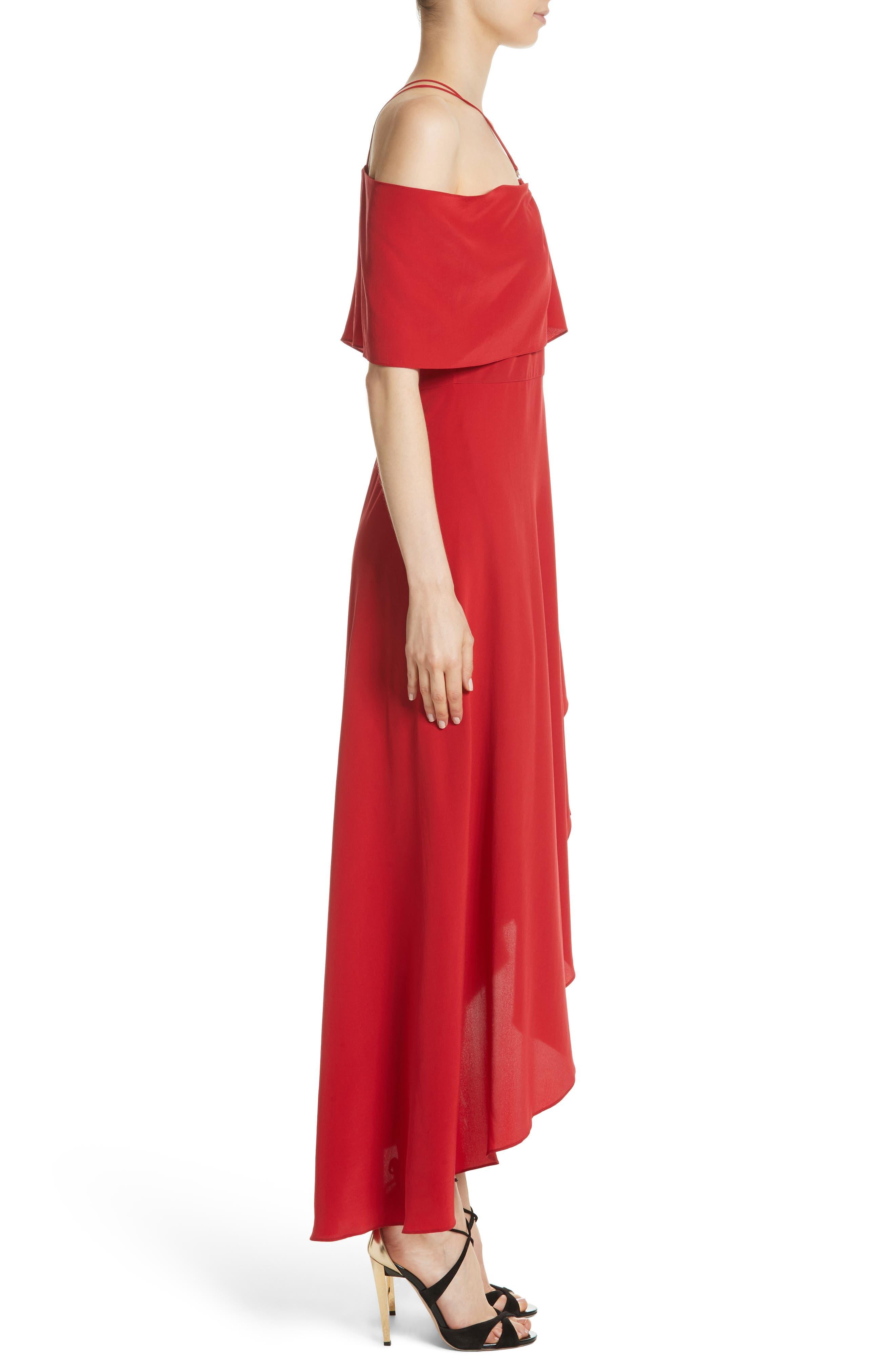 Cold Shoulder Silk Crepe Dress,                             Alternate thumbnail 3, color,                             620