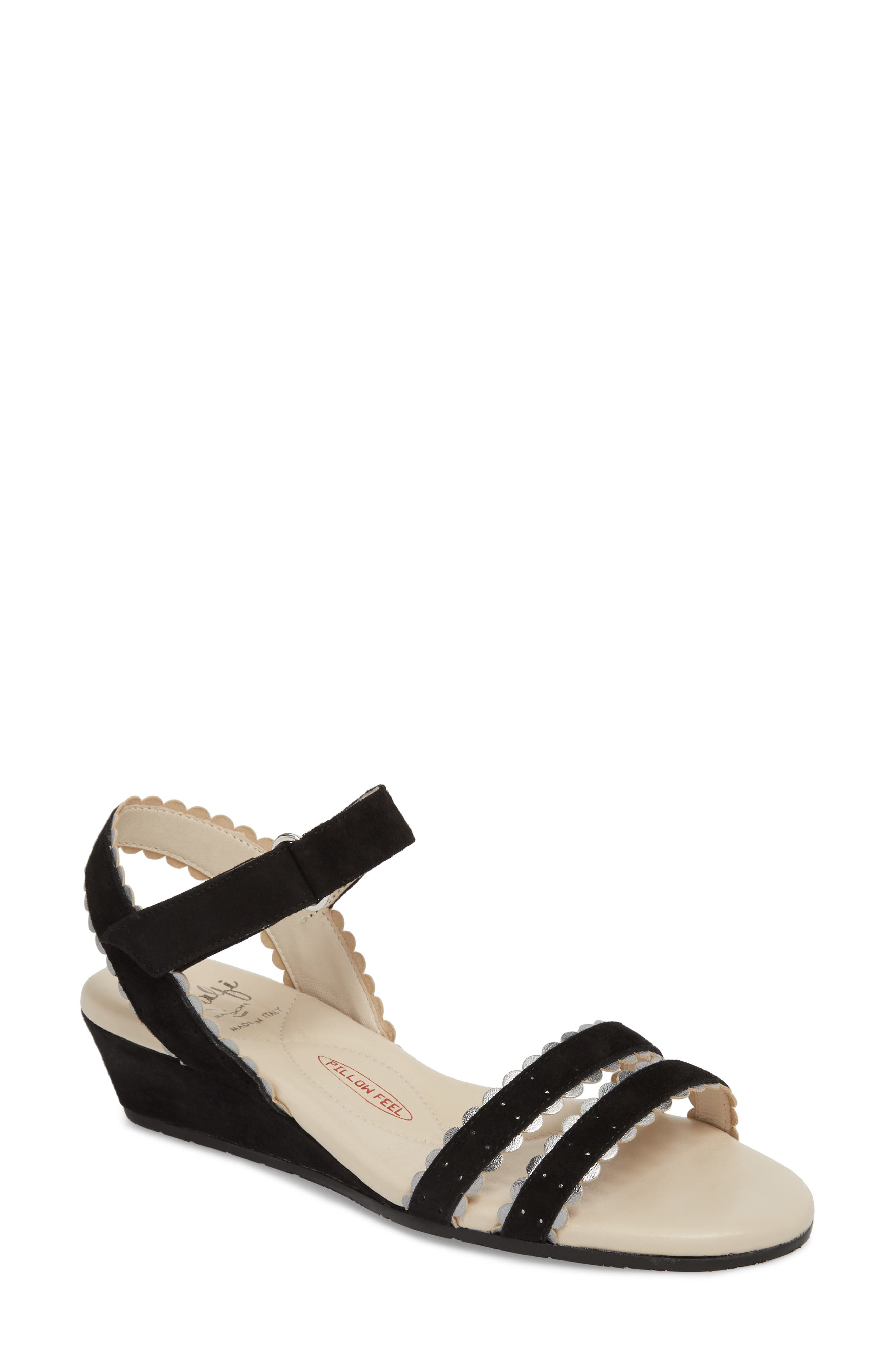 Messina Wedge Sandal,                         Main,                         color, BLACK SUEDE