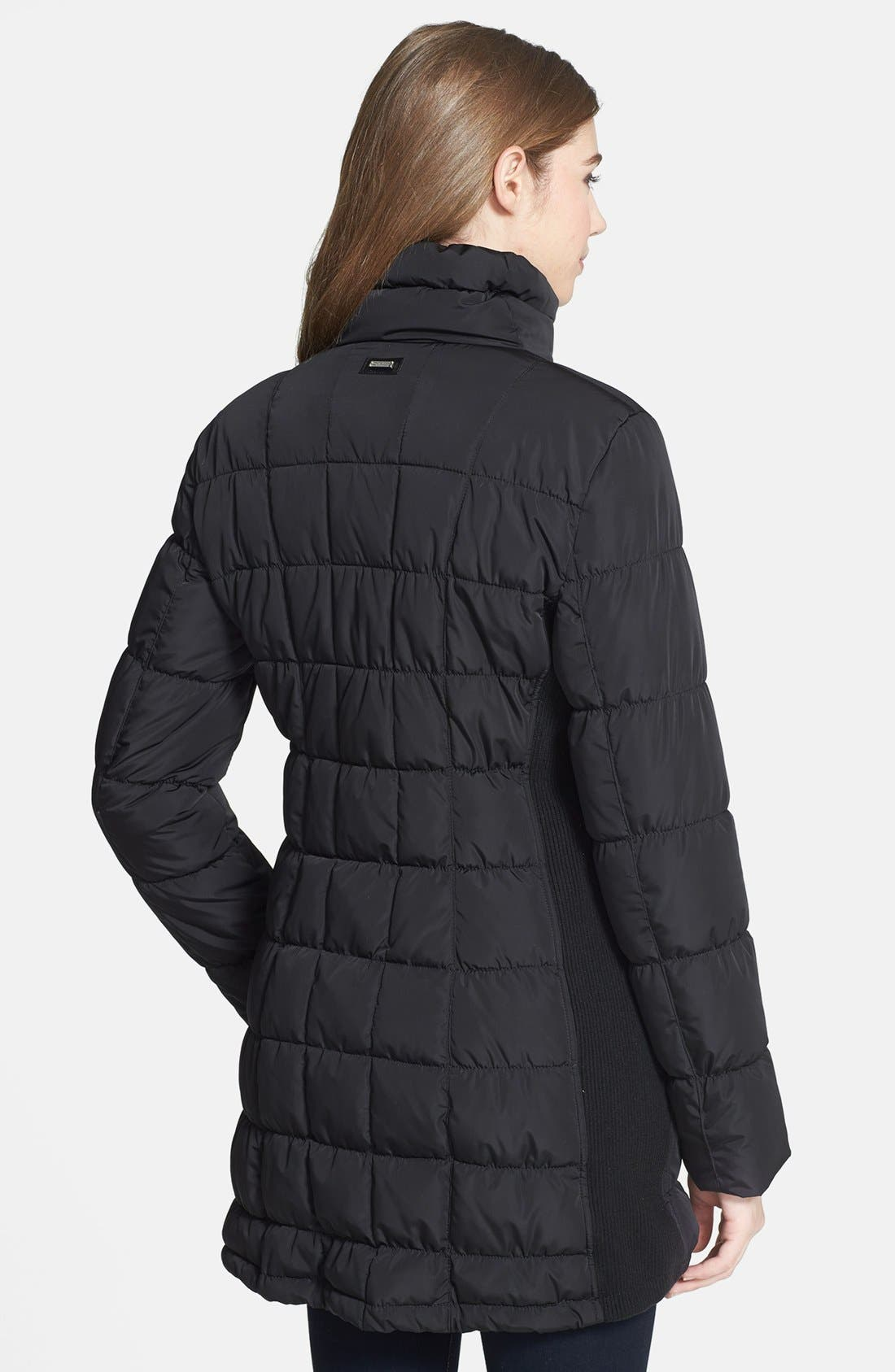 Asymmetrical Quilted Jacket,                             Alternate thumbnail 3, color,                             001