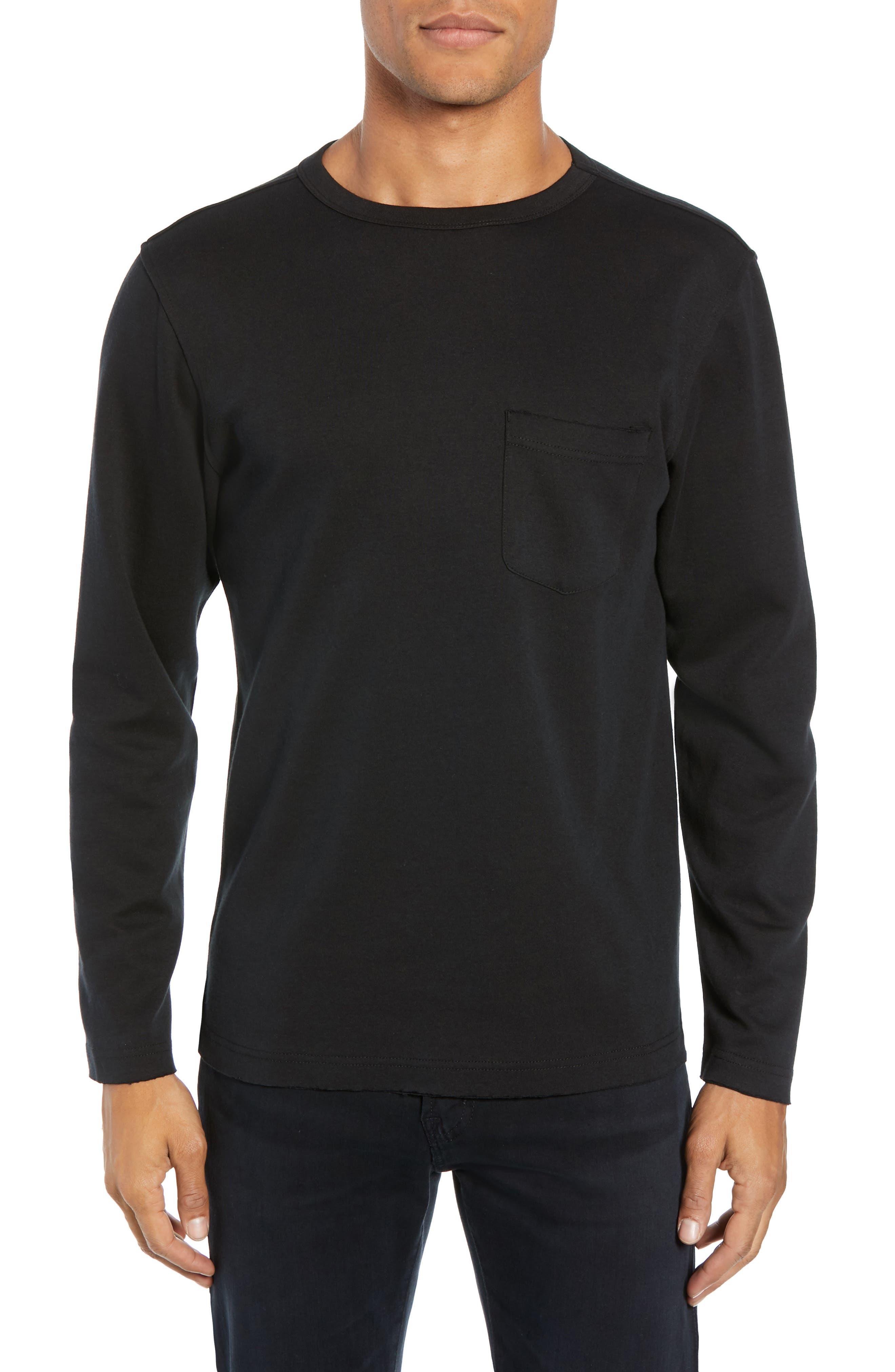 Trim Fit Long Sleeve Pocket T-Shirt,                         Main,                         color, BLACK