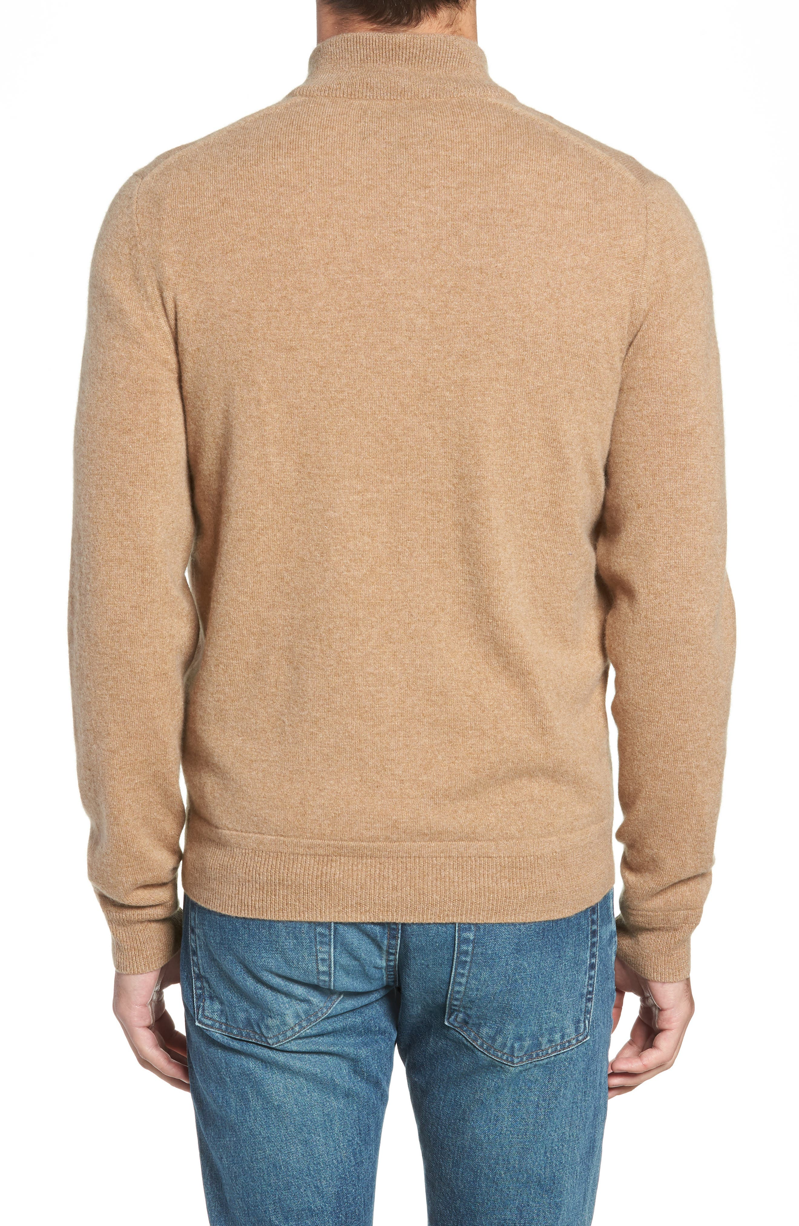 Regular Fit Quarter Zip Cashmere Sweater,                             Alternate thumbnail 2, color,                             BROWN BEAR