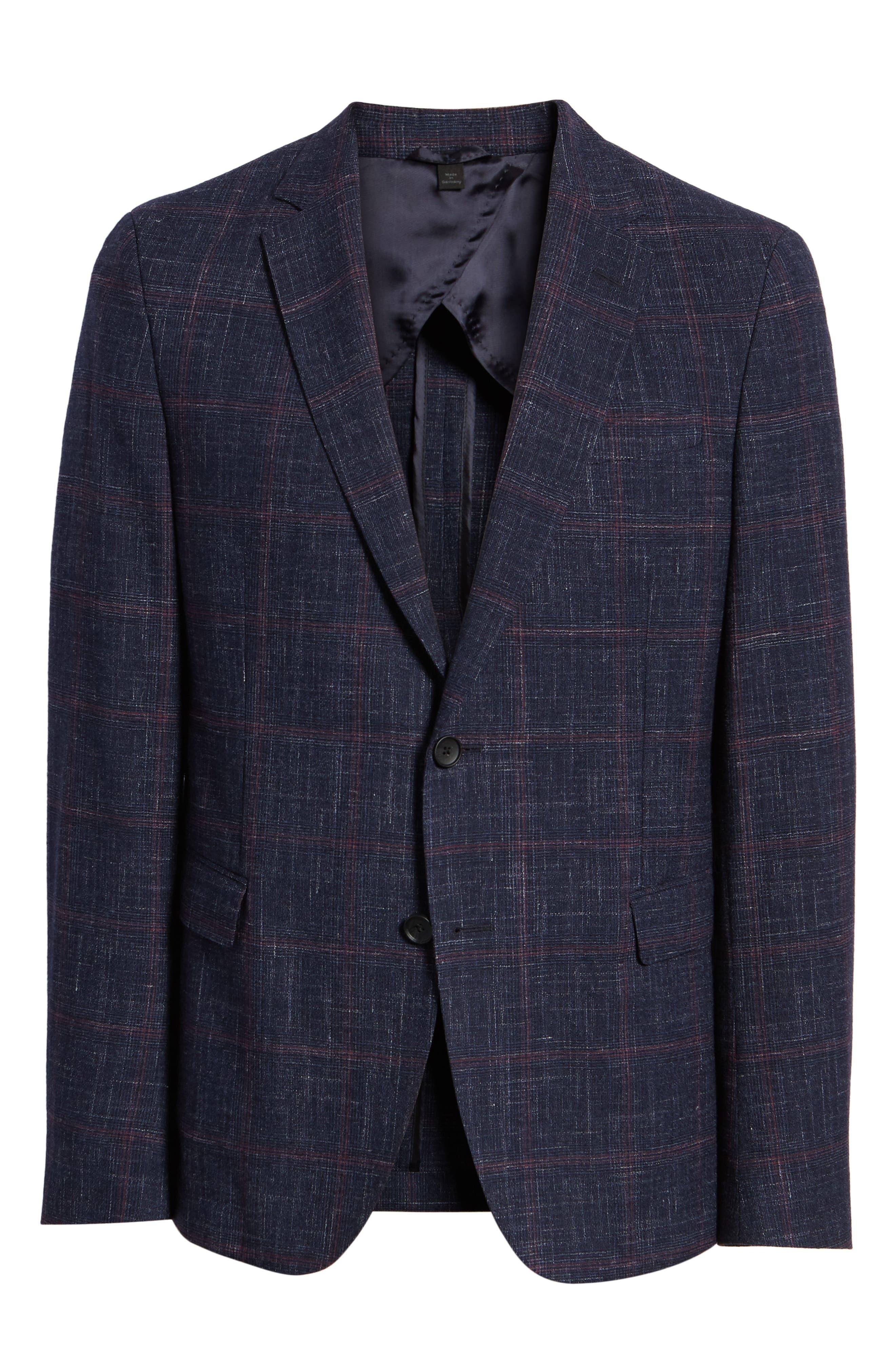 Nobis Trim Fit Plaid Wool Blend Sport Coat,                             Alternate thumbnail 5, color,                             DARK BLUE